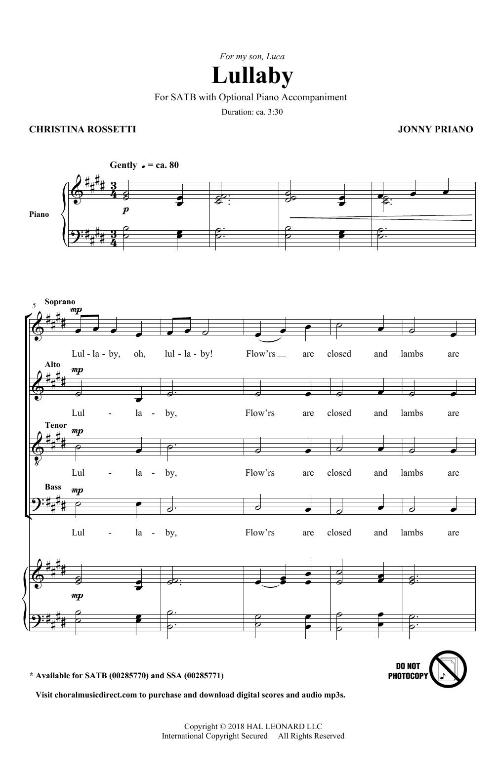 Lullaby (SATB Choir)