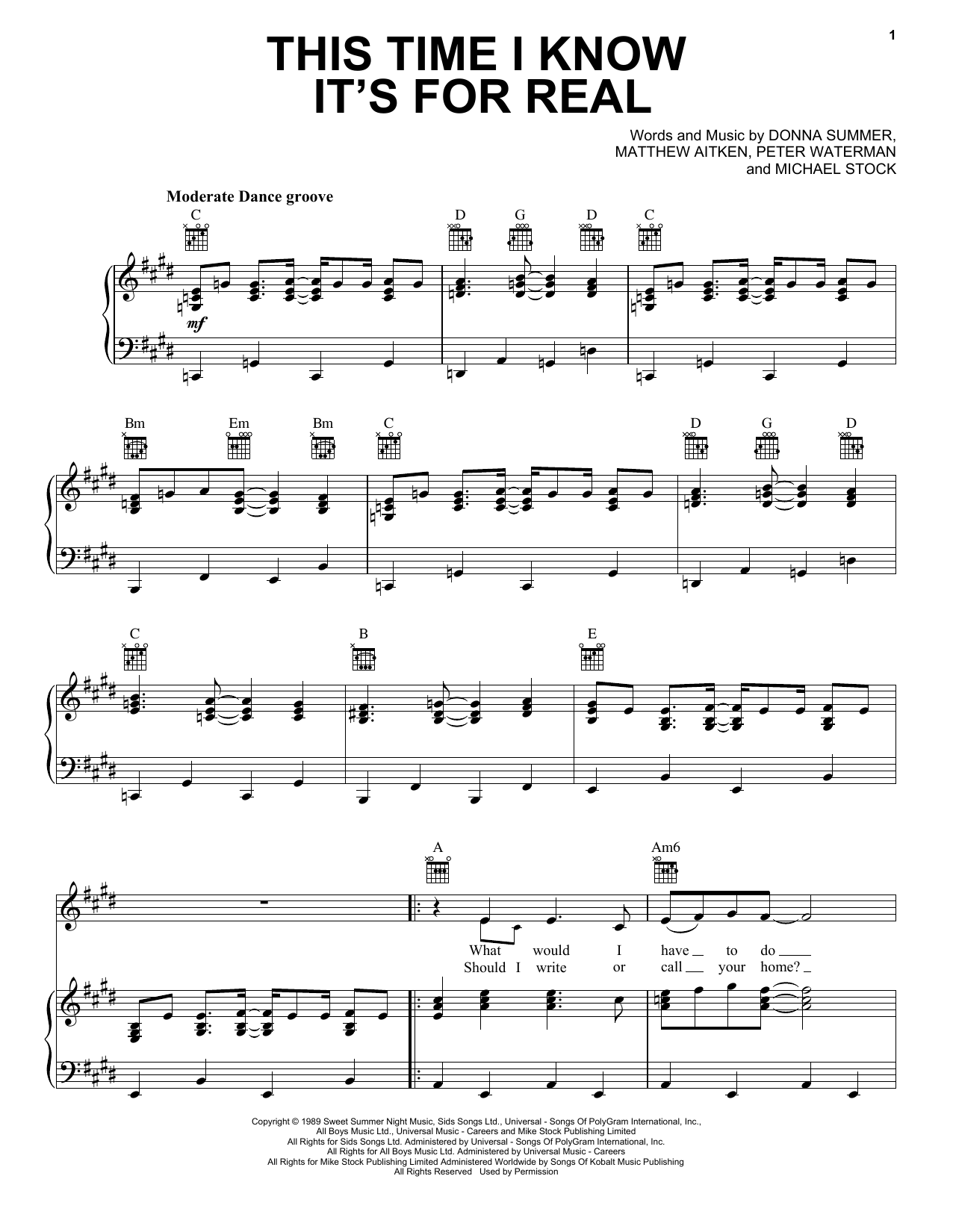 This Time I Know It's For Real (Piano, Vocal & Guitar (Right-Hand Melody))