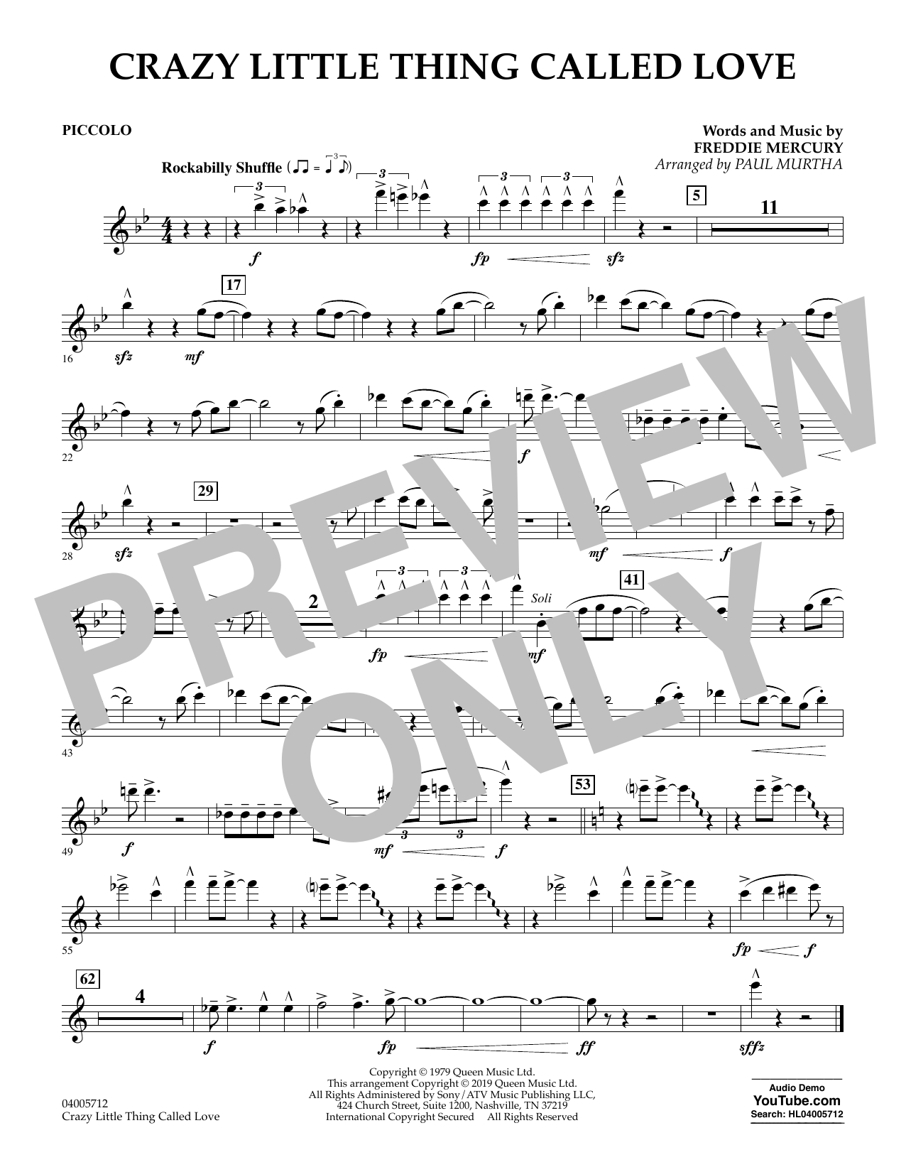 Crazy Little Thing Called Love (arr. Paul Murtha) - Piccolo (Concert Band)