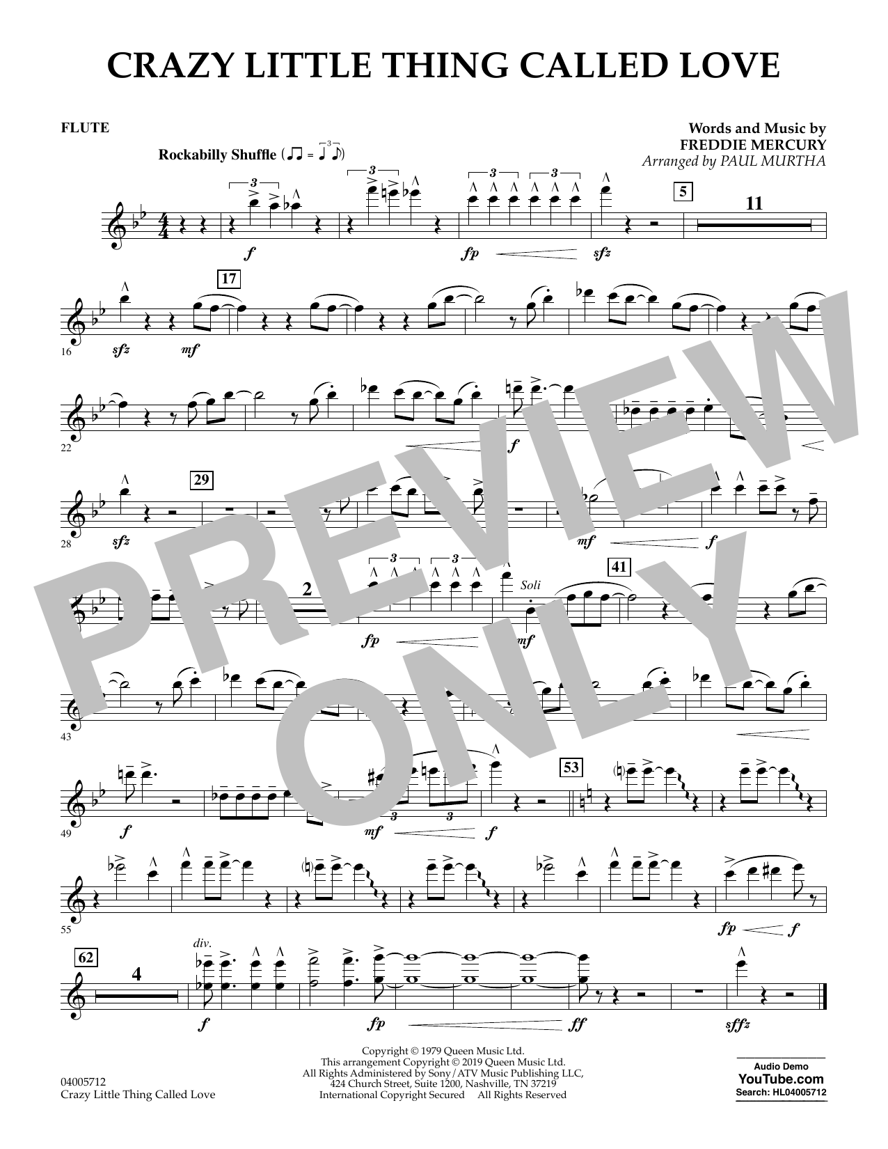 page one of Crazy Little Thing Called Love (arr. Paul Murtha) - FluteASALTTEXT