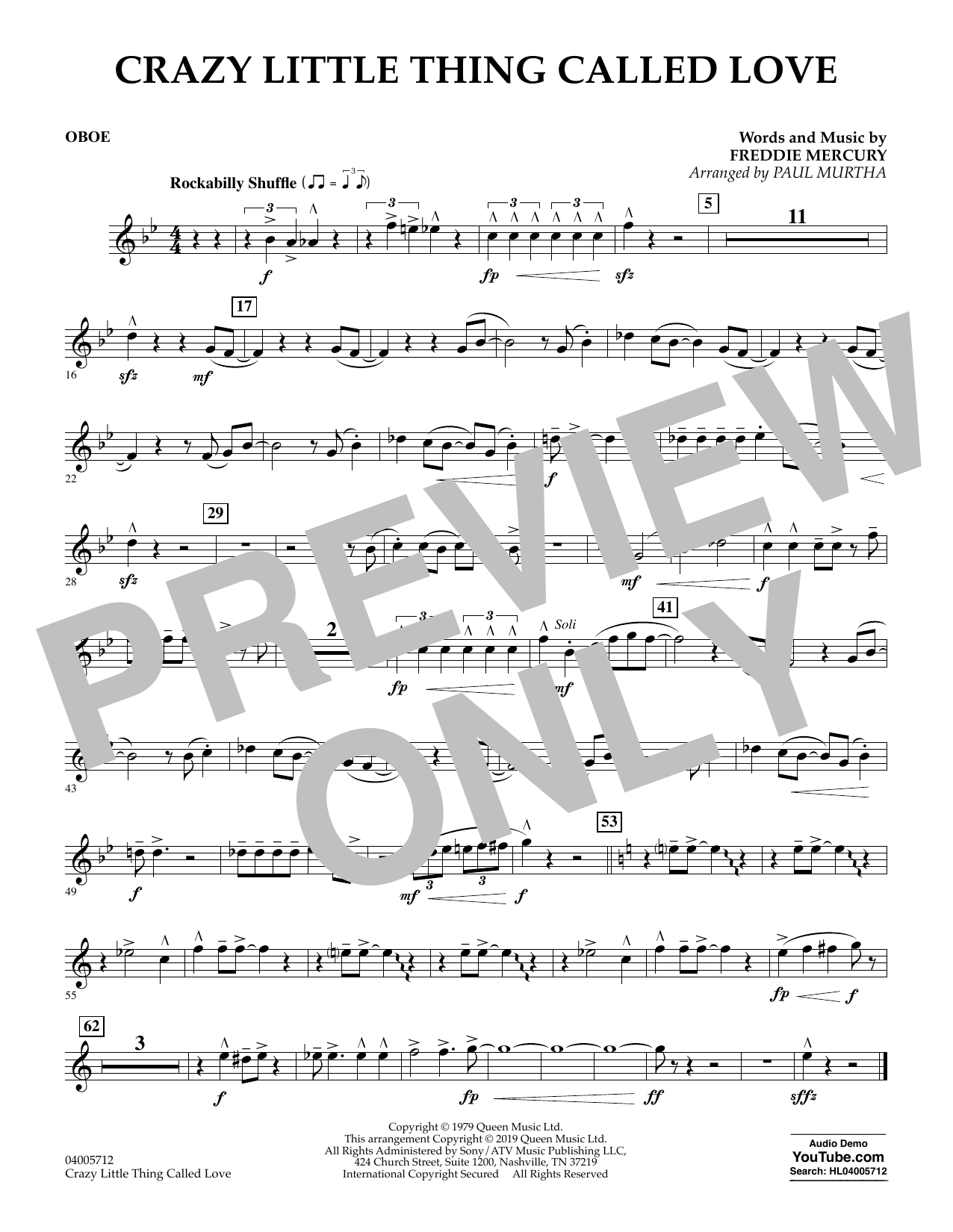 page one of Crazy Little Thing Called Love (arr. Paul Murtha) - OboeASALTTEXT