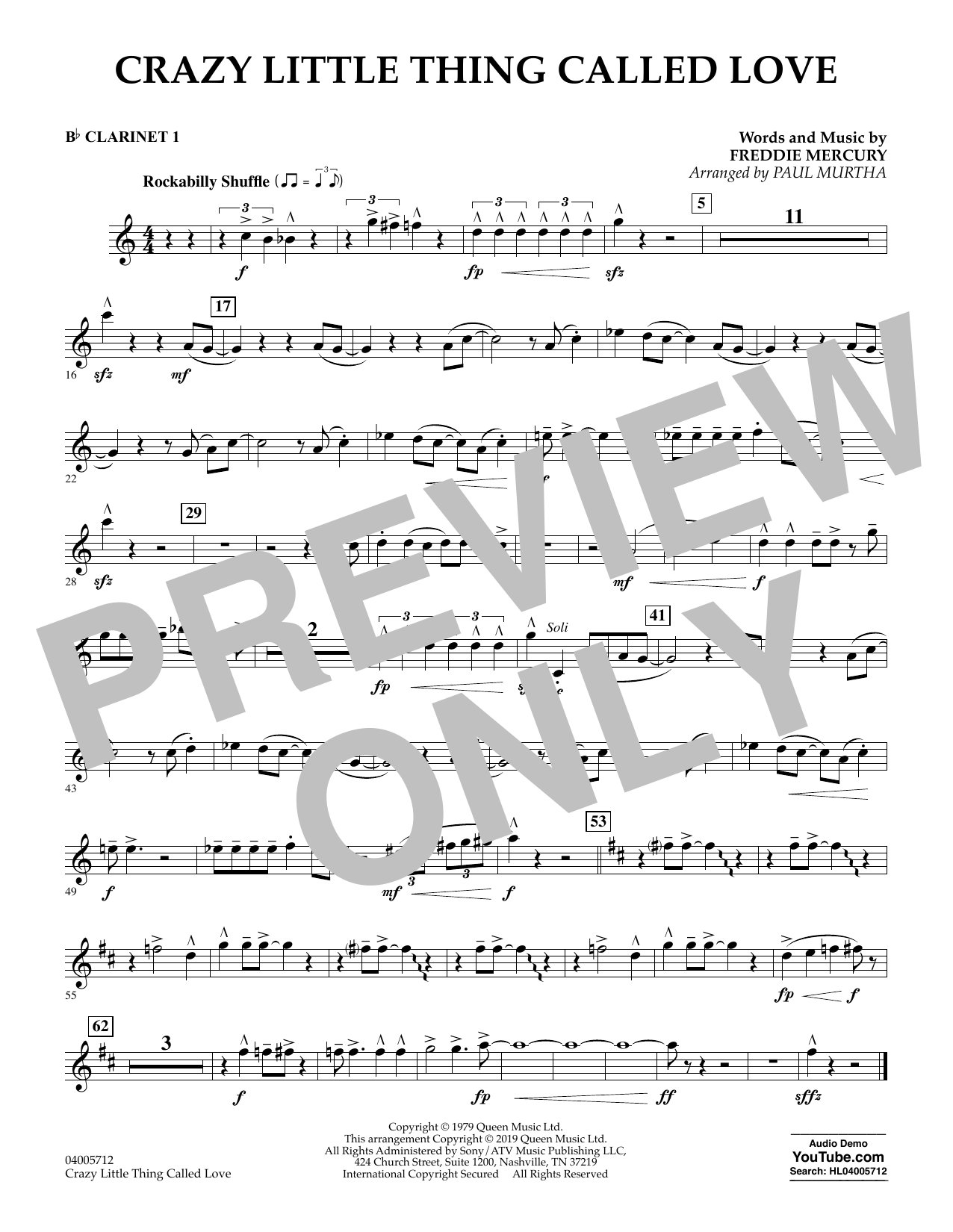 Crazy Little Thing Called Love (arr. Paul Murtha) - Bb Clarinet 1 (Concert Band)