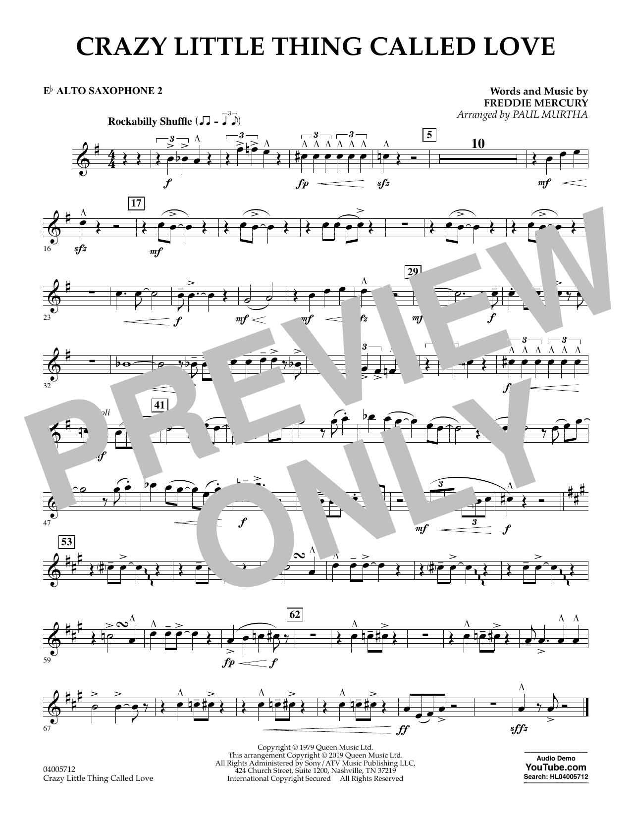 Crazy Little Thing Called Love (arr. Paul Murtha) - Eb Alto Saxophone 2 (Concert Band)