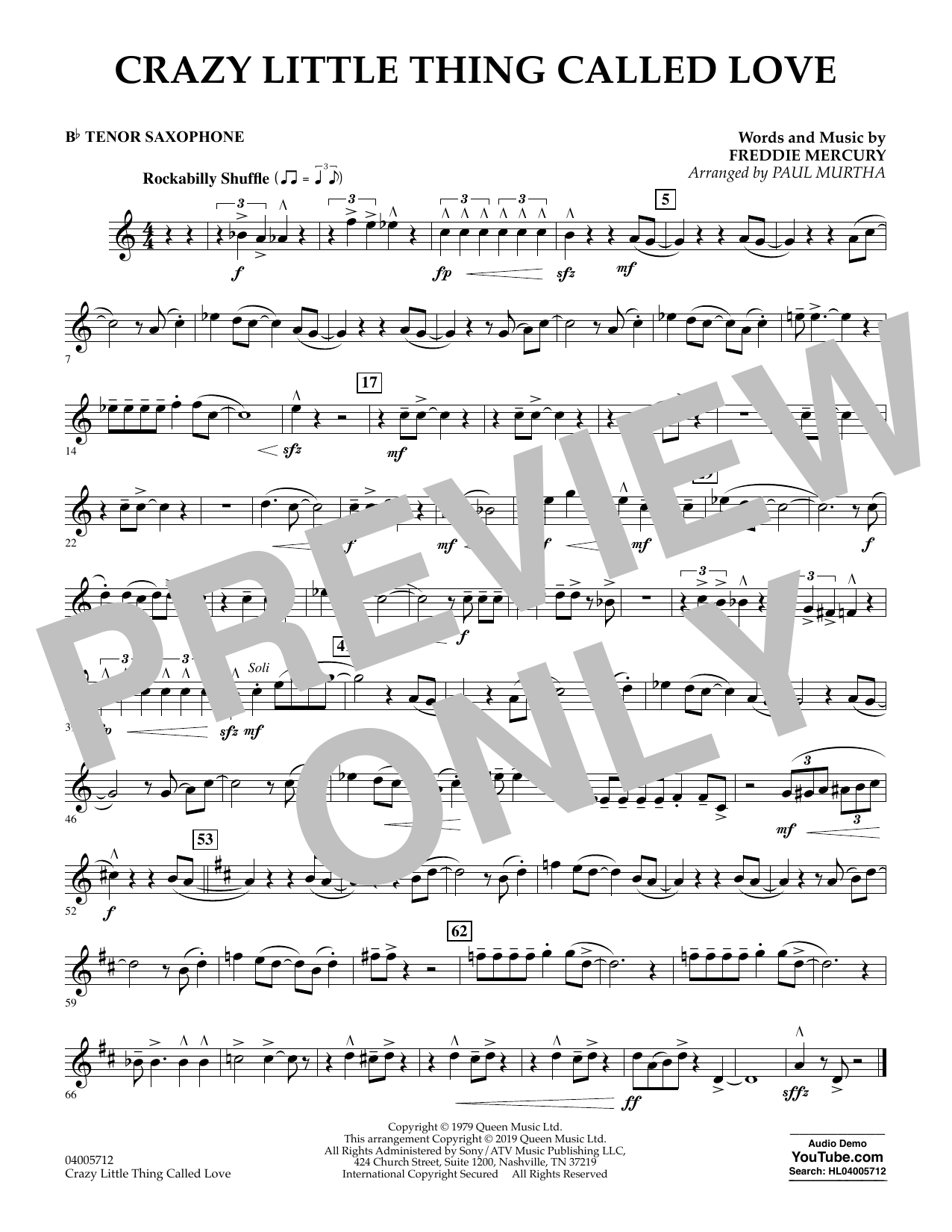 page one of Crazy Little Thing Called Love (arr. Paul Murtha) - Bb Tenor SaxophoneASALTTEXT