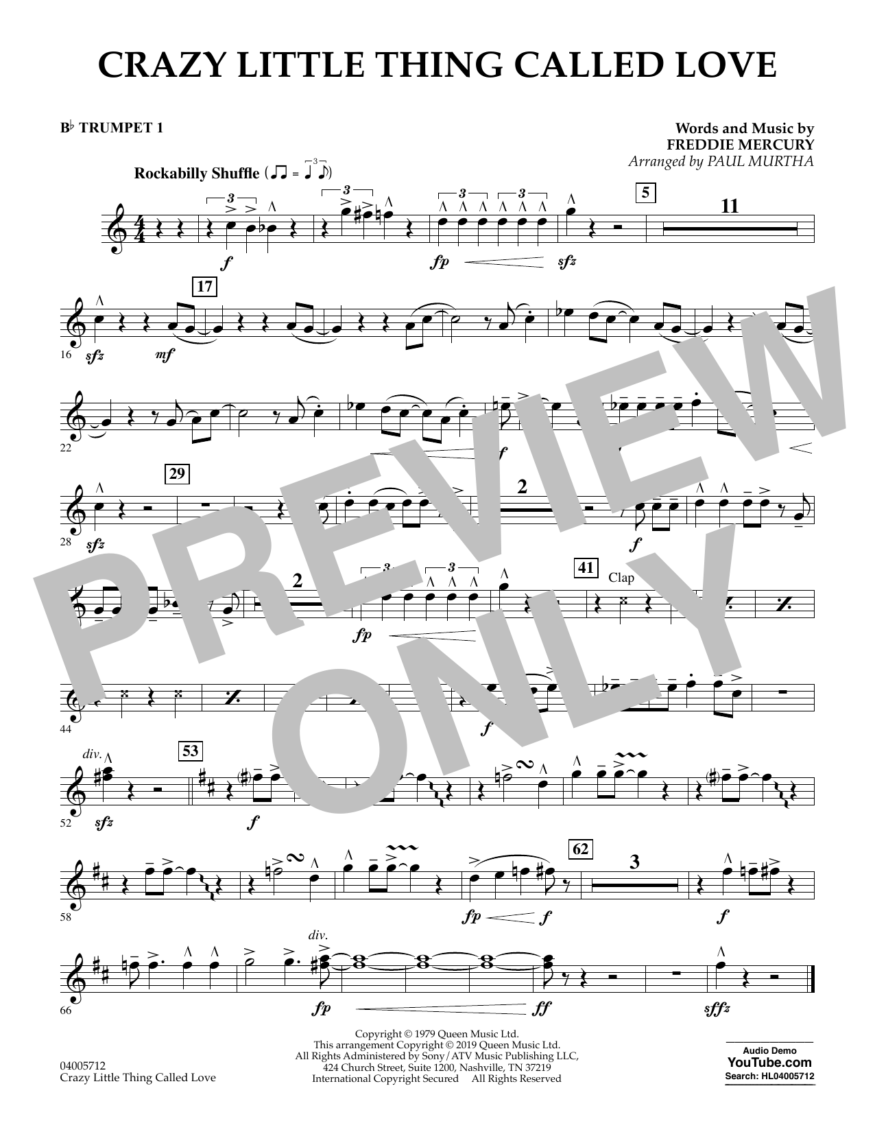 Crazy Little Thing Called Love (arr. Paul Murtha) - Bb Trumpet 1 (Concert Band)