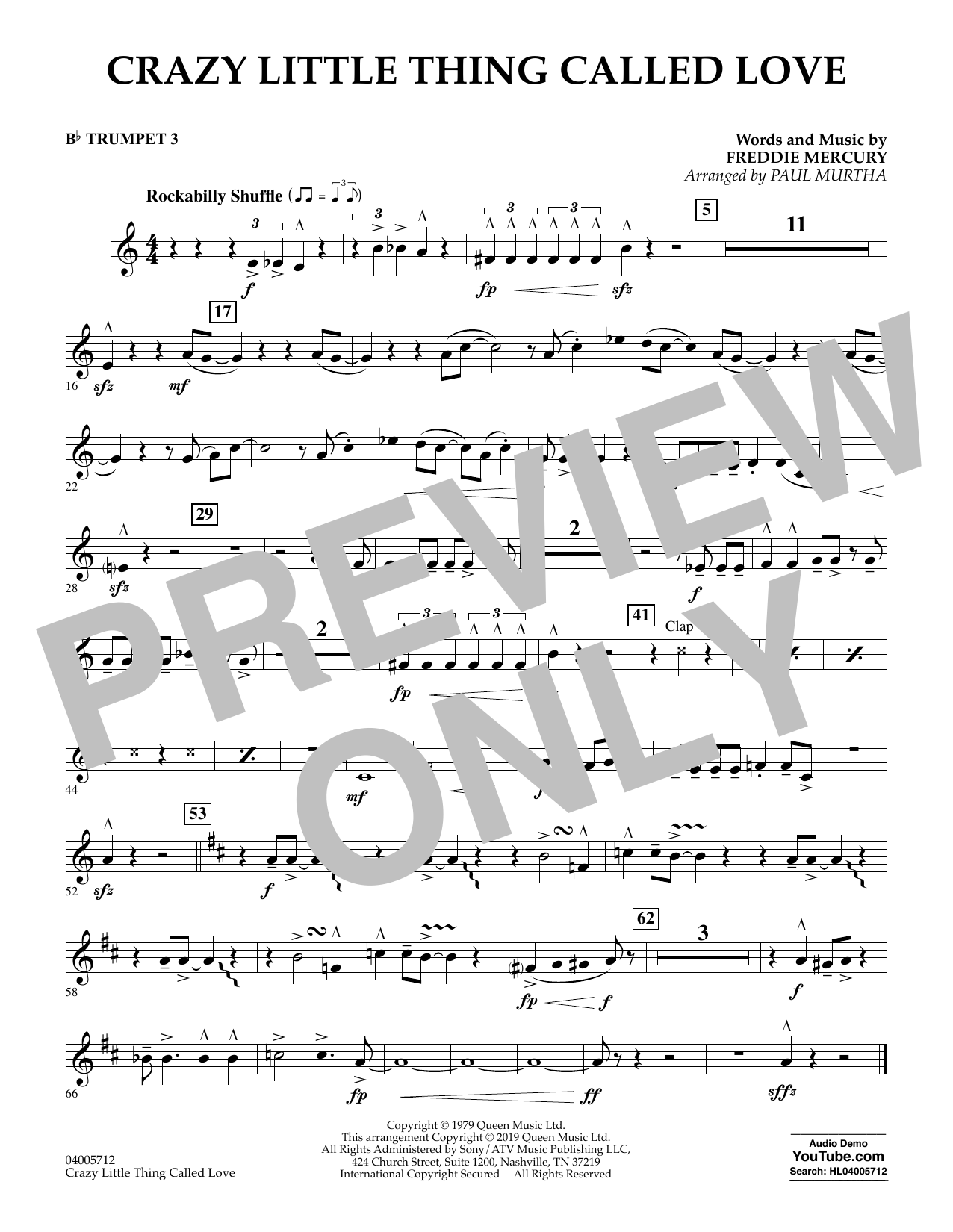 Crazy Little Thing Called Love (arr. Paul Murtha) - Bb Trumpet 3 (Concert Band)