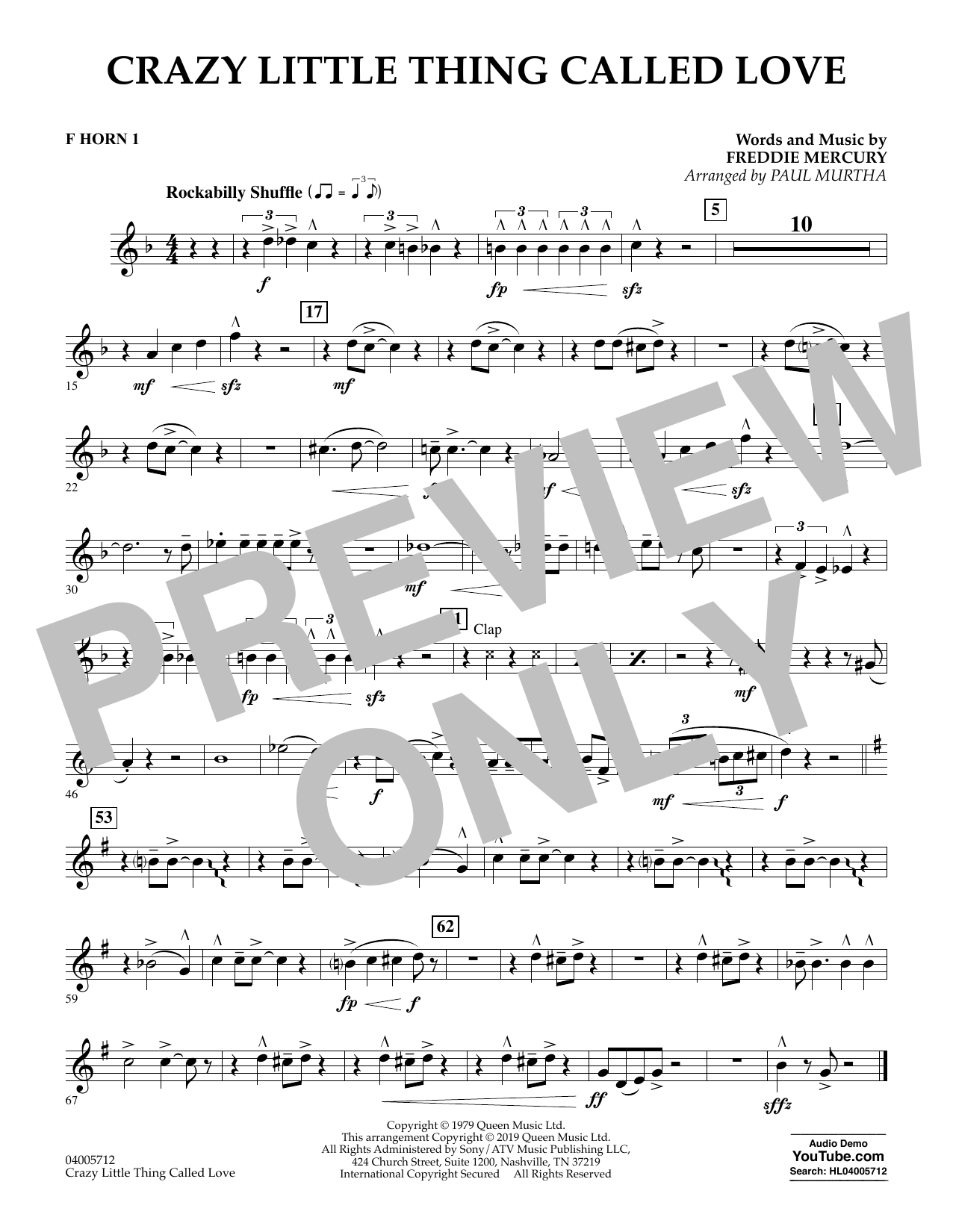 page one of Crazy Little Thing Called Love (arr. Paul Murtha) - F Horn 1ASALTTEXT