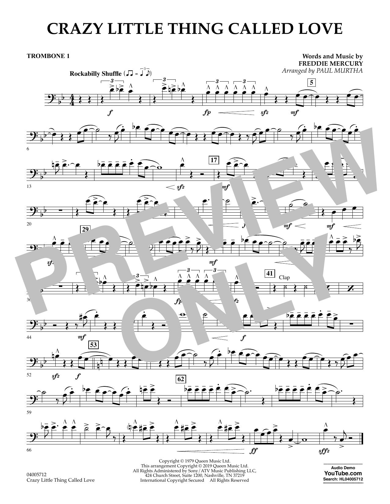Crazy Little Thing Called Love (arr. Paul Murtha) - Trombone 1 (Concert Band)