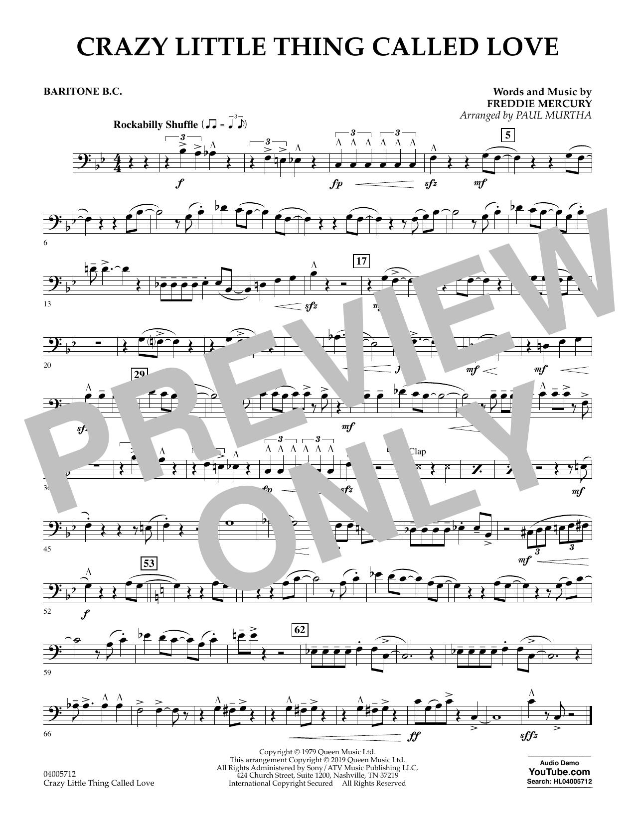 Crazy Little Thing Called Love (arr. Paul Murtha) - Baritone B.C. (Concert Band)