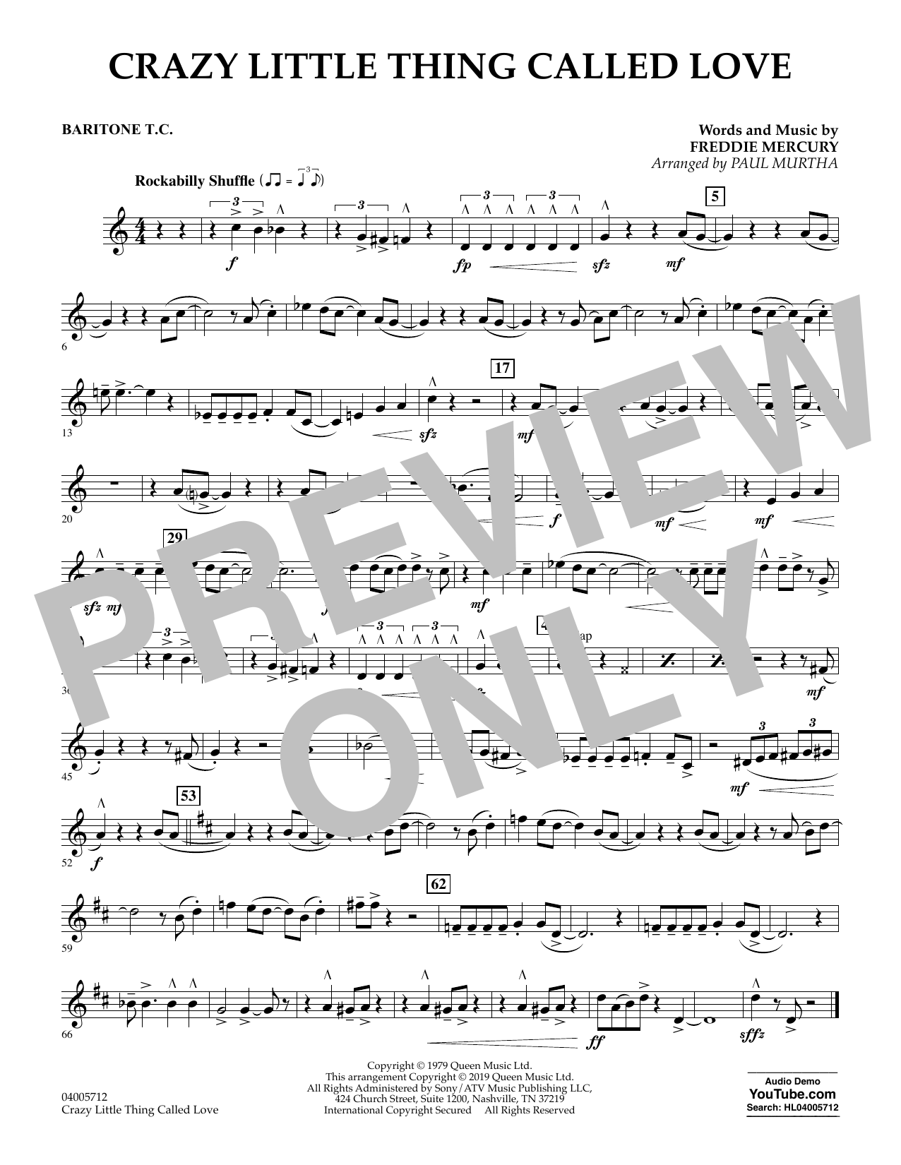 page one of Crazy Little Thing Called Love (arr. Paul Murtha) - Baritone T.C.ASALTTEXT