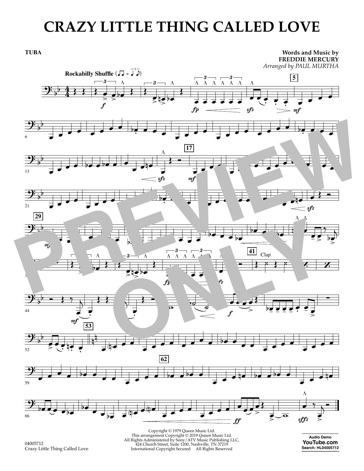 Crazy Little Thing Called Love (arr. Paul Murtha) - Tuba (Concert Band)