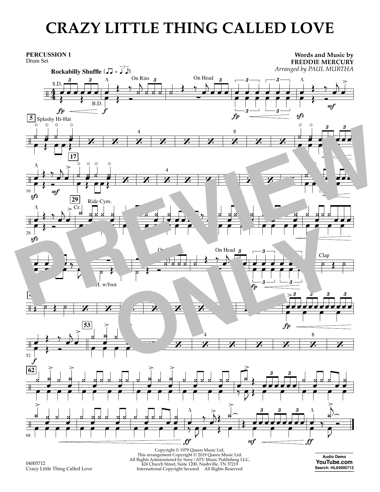 Crazy Little Thing Called Love (arr. Paul Murtha) - Percussion 1 (Concert Band)