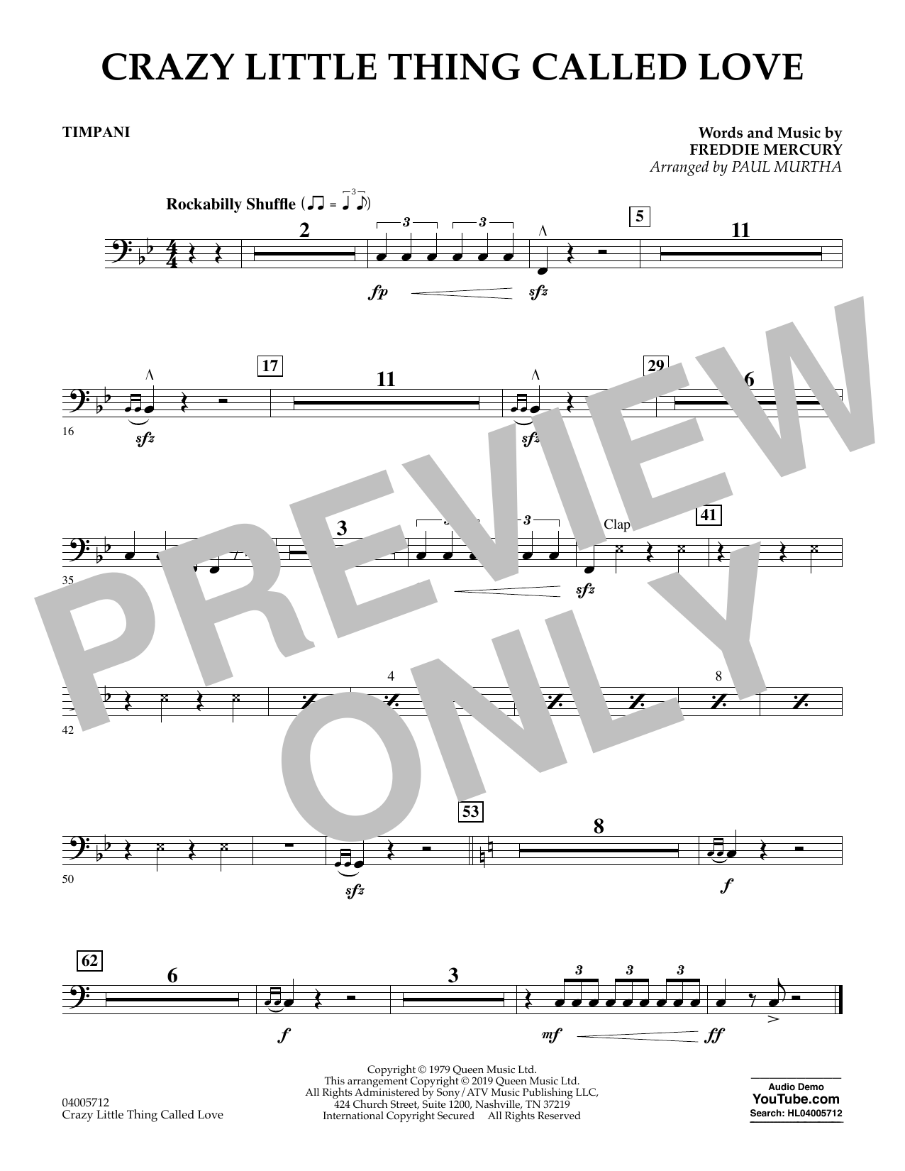 Crazy Little Thing Called Love (arr. Paul Murtha) - Timpani (Concert Band)
