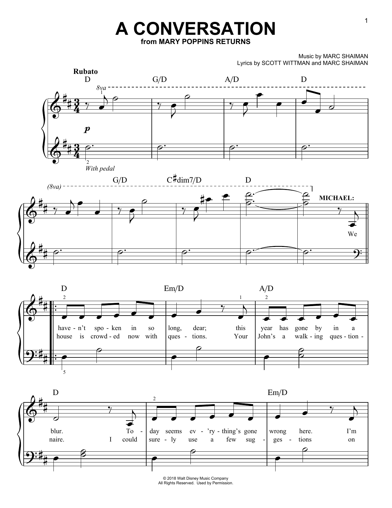 A Conversation (from Mary Poppins Returns) (Easy Piano)