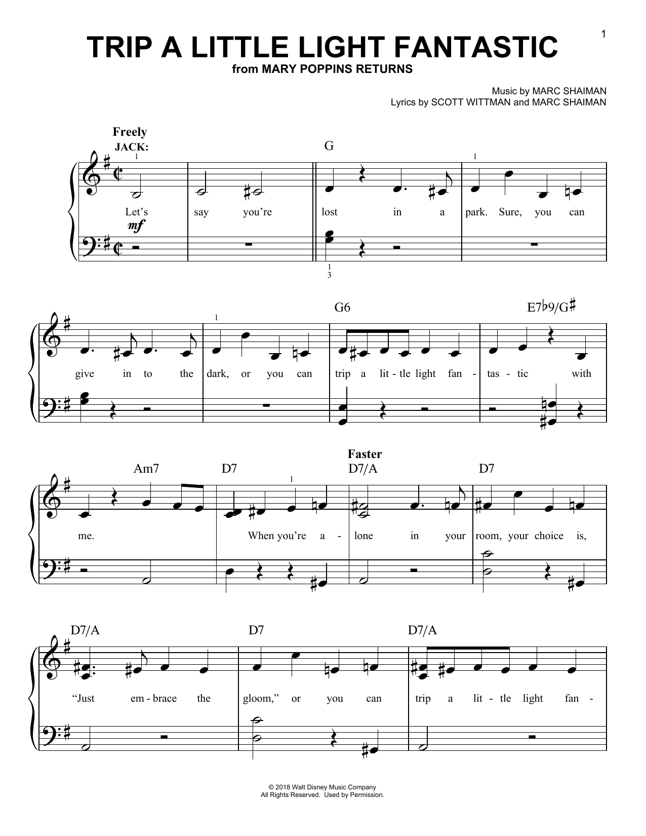 Trip A Little Light Fantastic (from Mary Poppins Returns) (Easy Piano)
