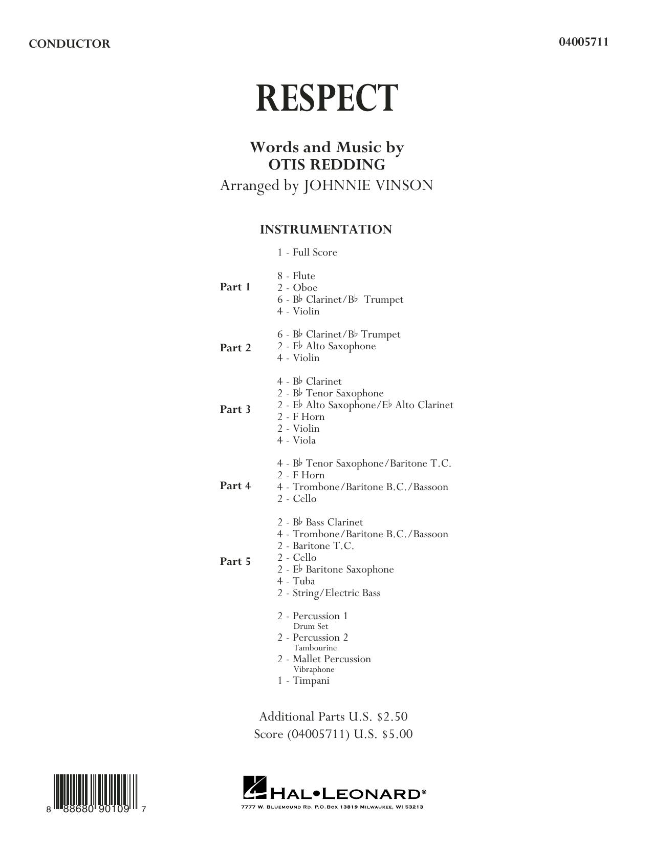 Respect (arr. Johnnie Vinson) - Conductor Score (Full Score) (Concert Band: Flex-Band)