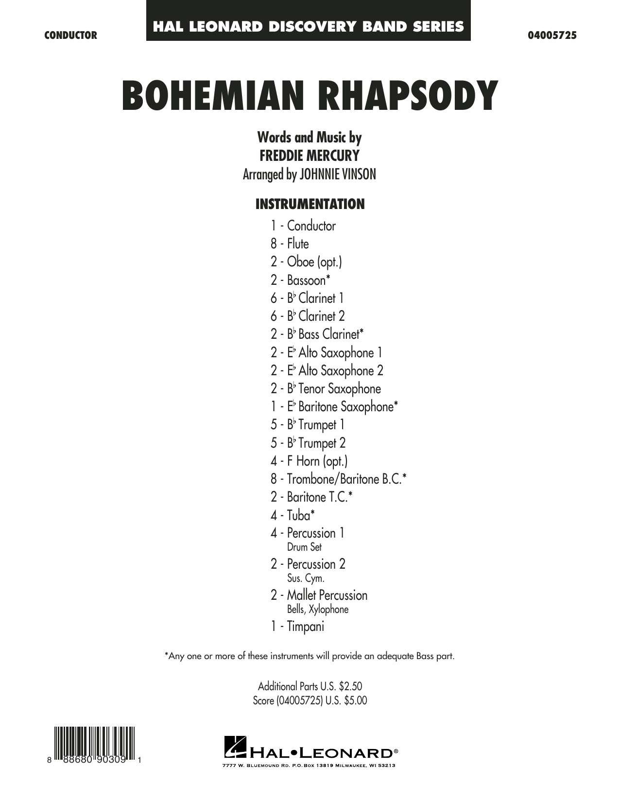 Bohemian Rhapsody (arr. Johnnie Vinson) - Conductor Score (Full Score) (Concert Band)