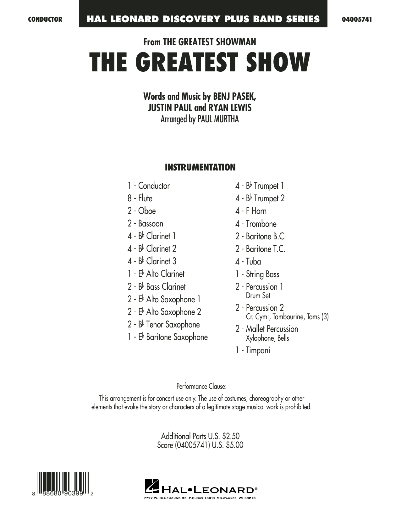 The Greatest Show  (arr. Paul Murtha) - Conductor Score (Full Score) (Concert Band)