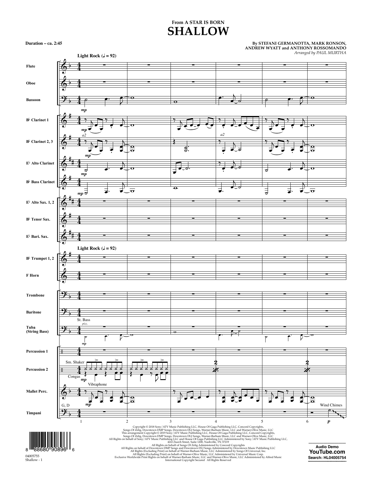 Shallow (from A Star Is Born) (arr. Paul Murtha) - Conductor Score (Full Score) (Concert Band)