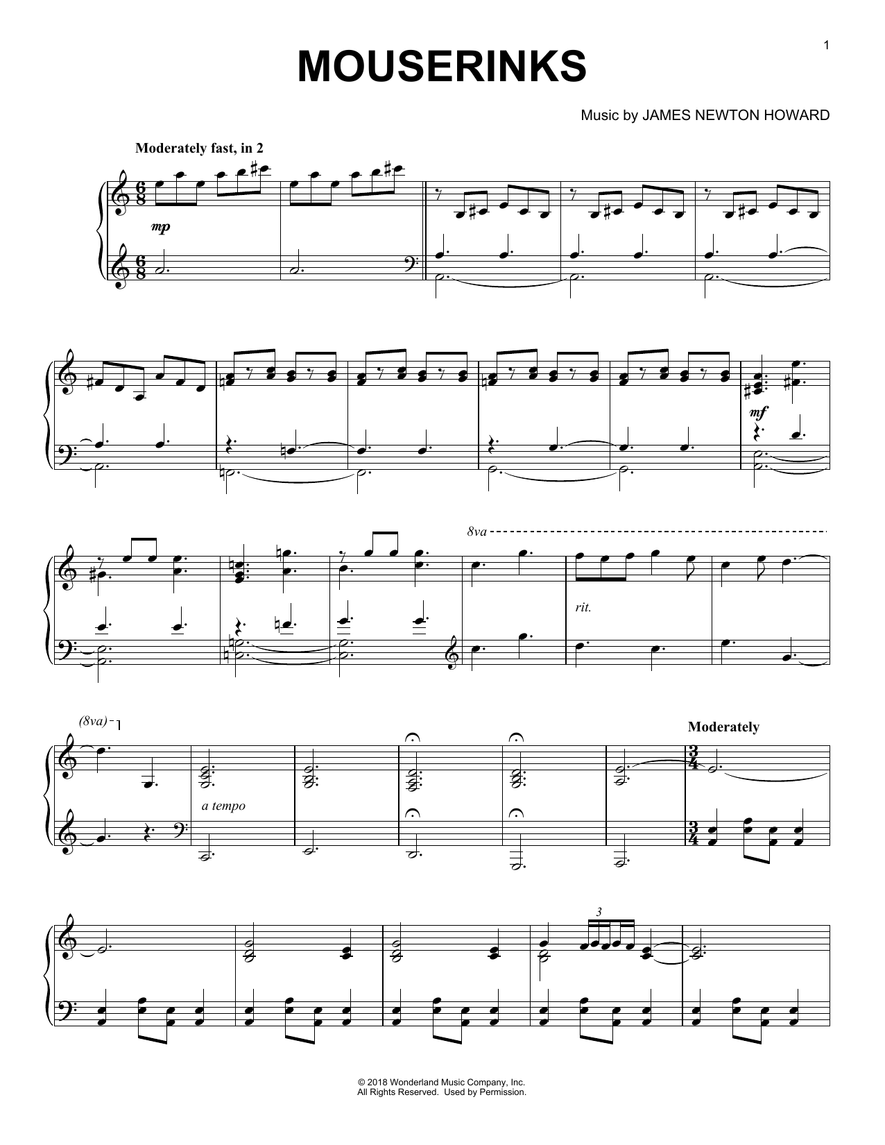 Mouserinks (from The Nutcracker and The Four Realms) (Piano Solo)