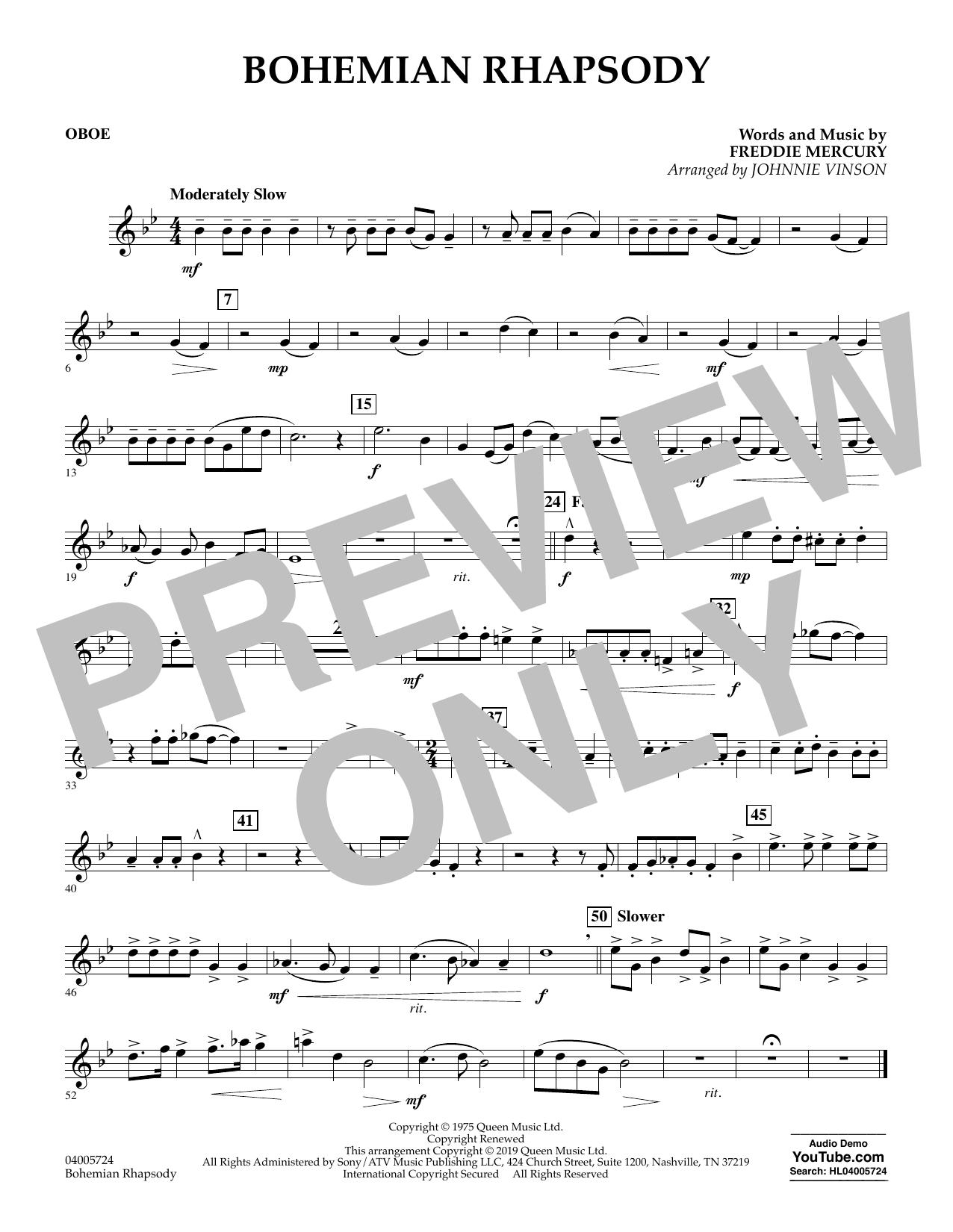 Bohemian Rhapsody (arr. Johnnie Vinson) - Oboe (Concert Band)