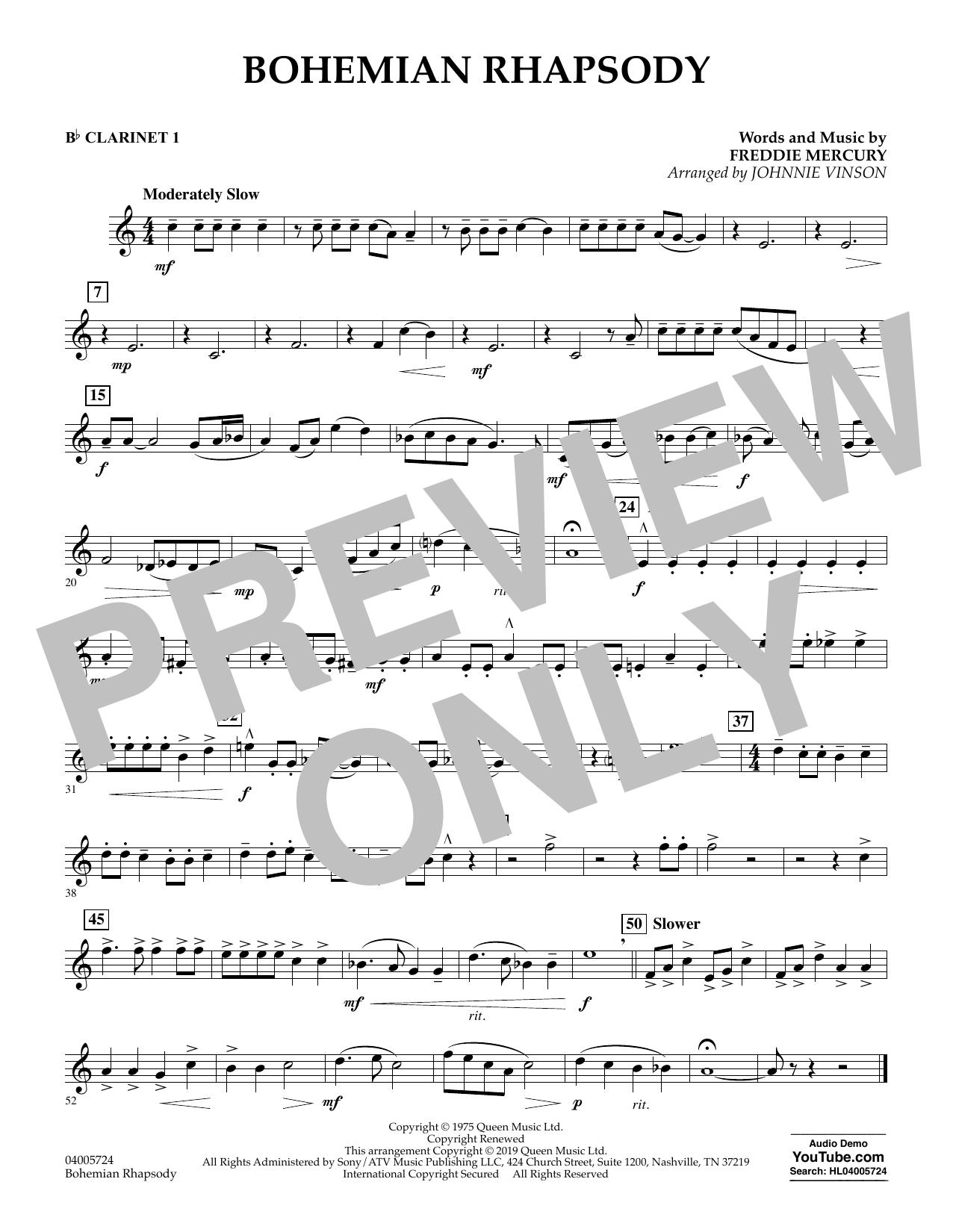 Bohemian Rhapsody (arr. Johnnie Vinson) - Bb Clarinet 1 (Concert Band)