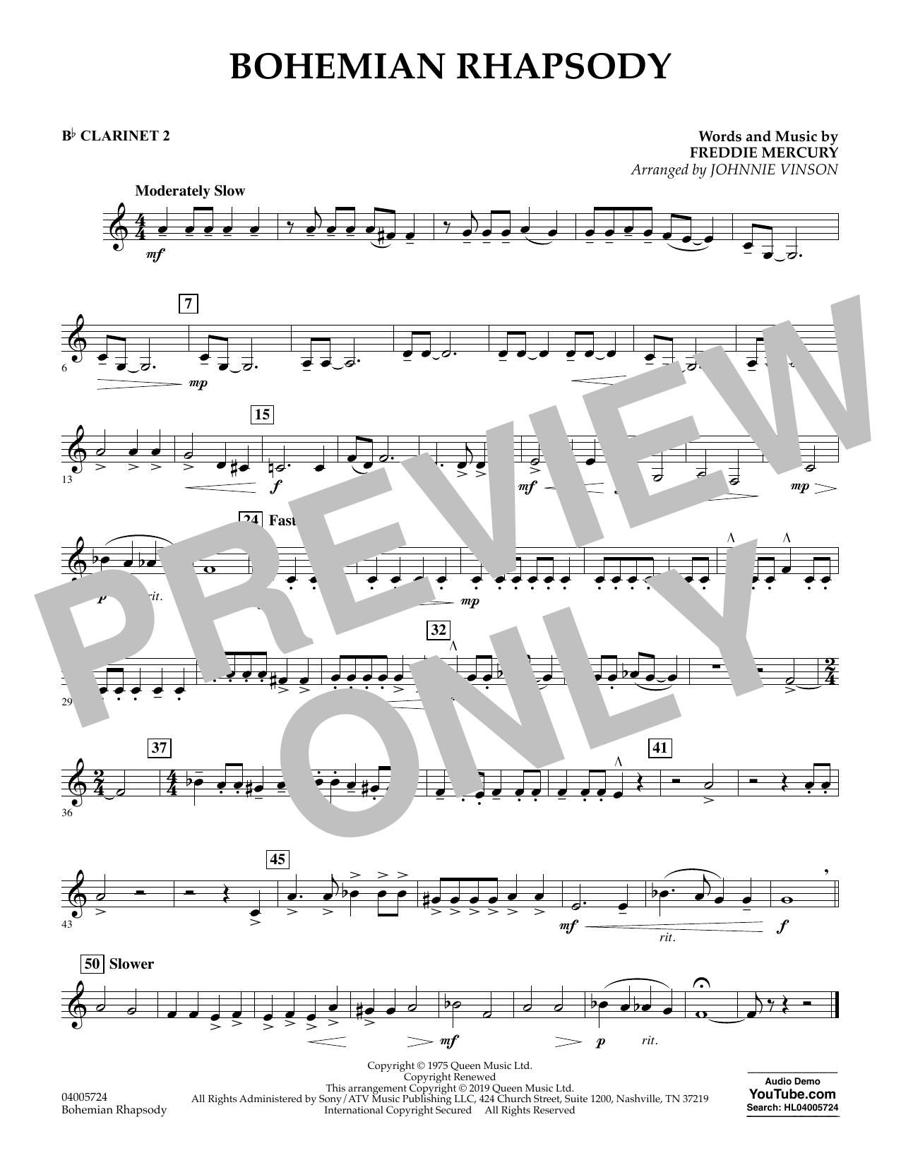 Bohemian Rhapsody (arr. Johnnie Vinson) - Bb Clarinet 2 (Concert Band)