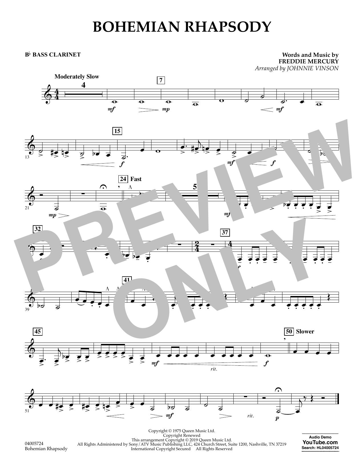 Bohemian Rhapsody (arr. Johnnie Vinson) - Bb Bass Clarinet (Concert Band)