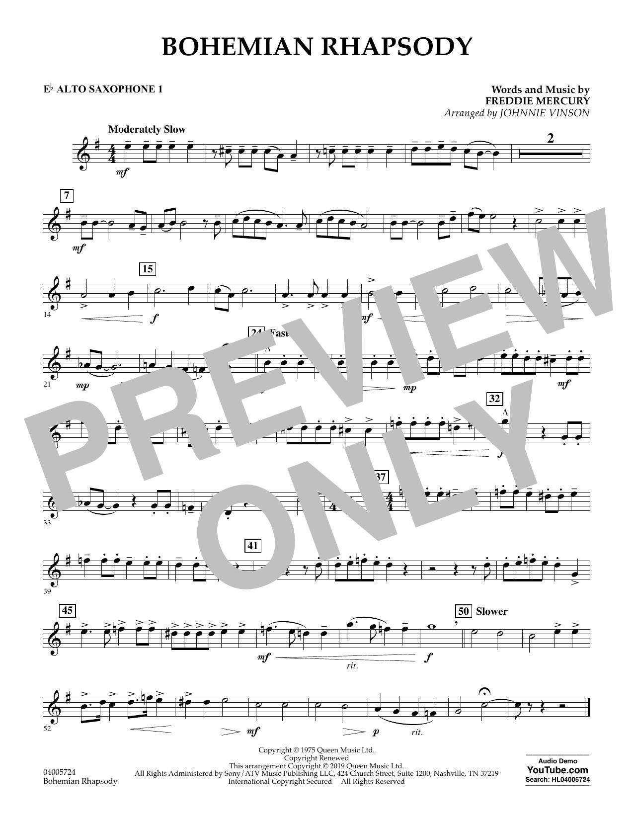 Bohemian Rhapsody (arr. Johnnie Vinson) - Eb Alto Saxophone 1 (Concert Band)