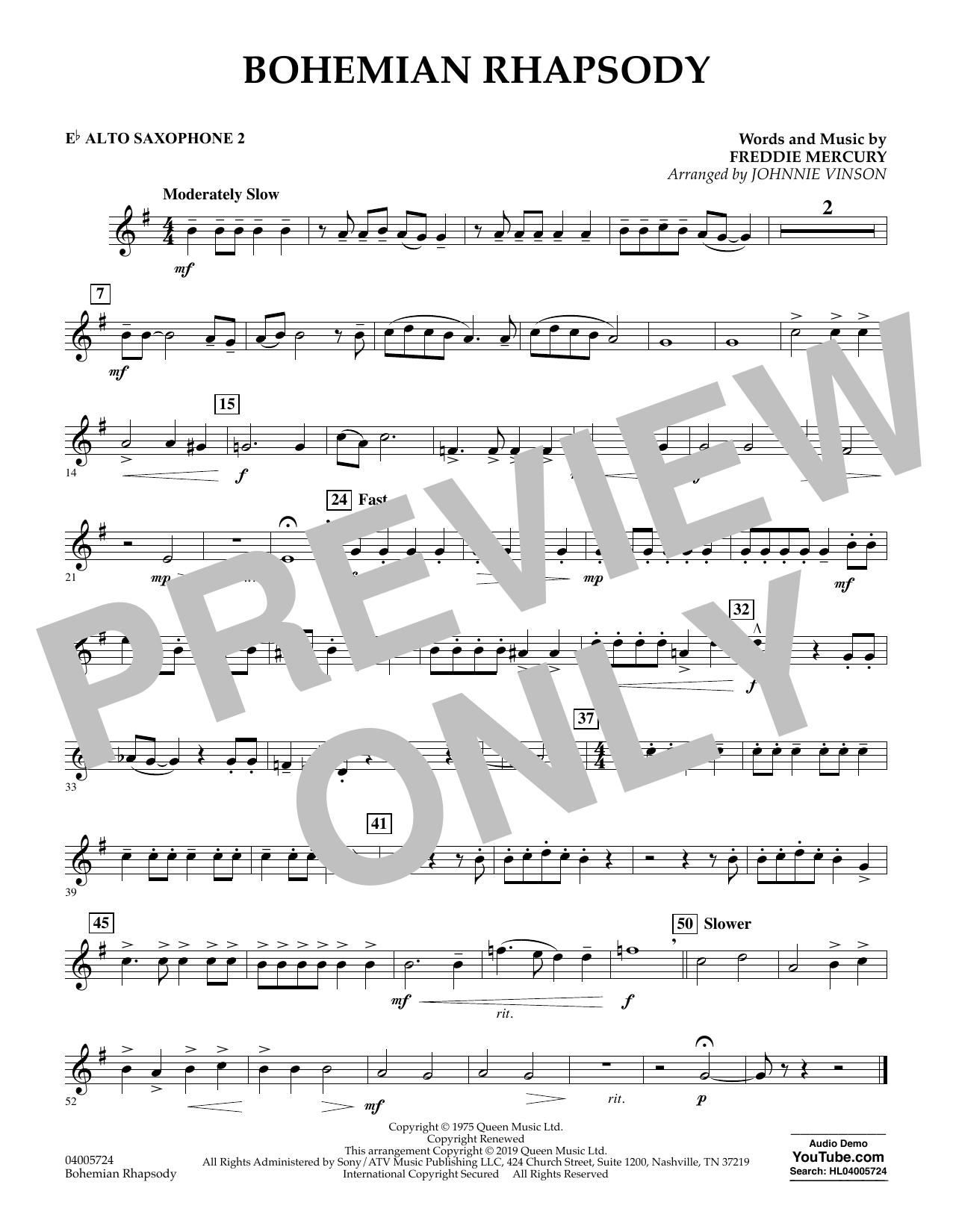 Bohemian Rhapsody (arr. Johnnie Vinson) - Eb Alto Saxophone 2 (Concert Band)
