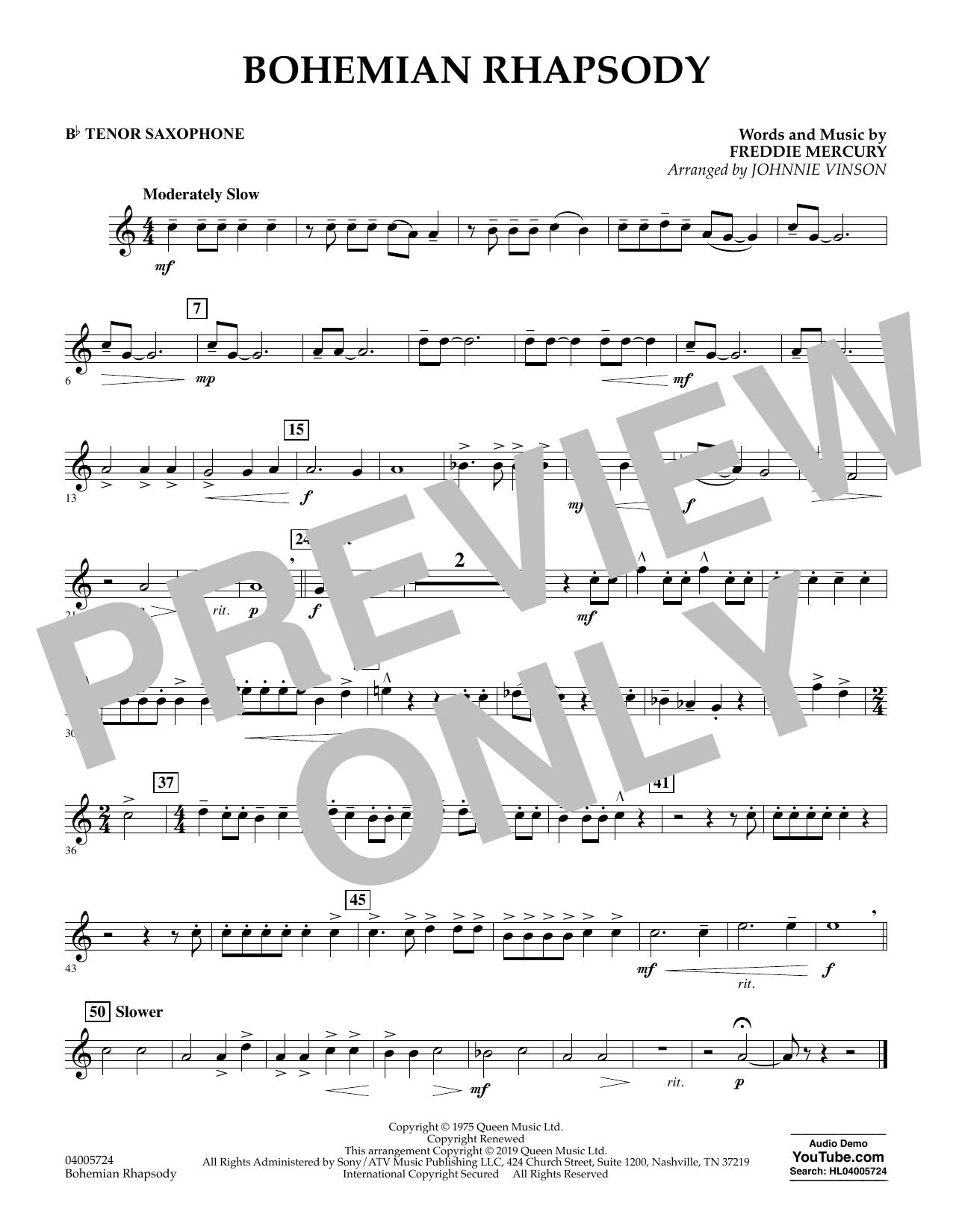 Bohemian Rhapsody (arr. Johnnie Vinson) - Bb Tenor Saxophone (Concert Band)