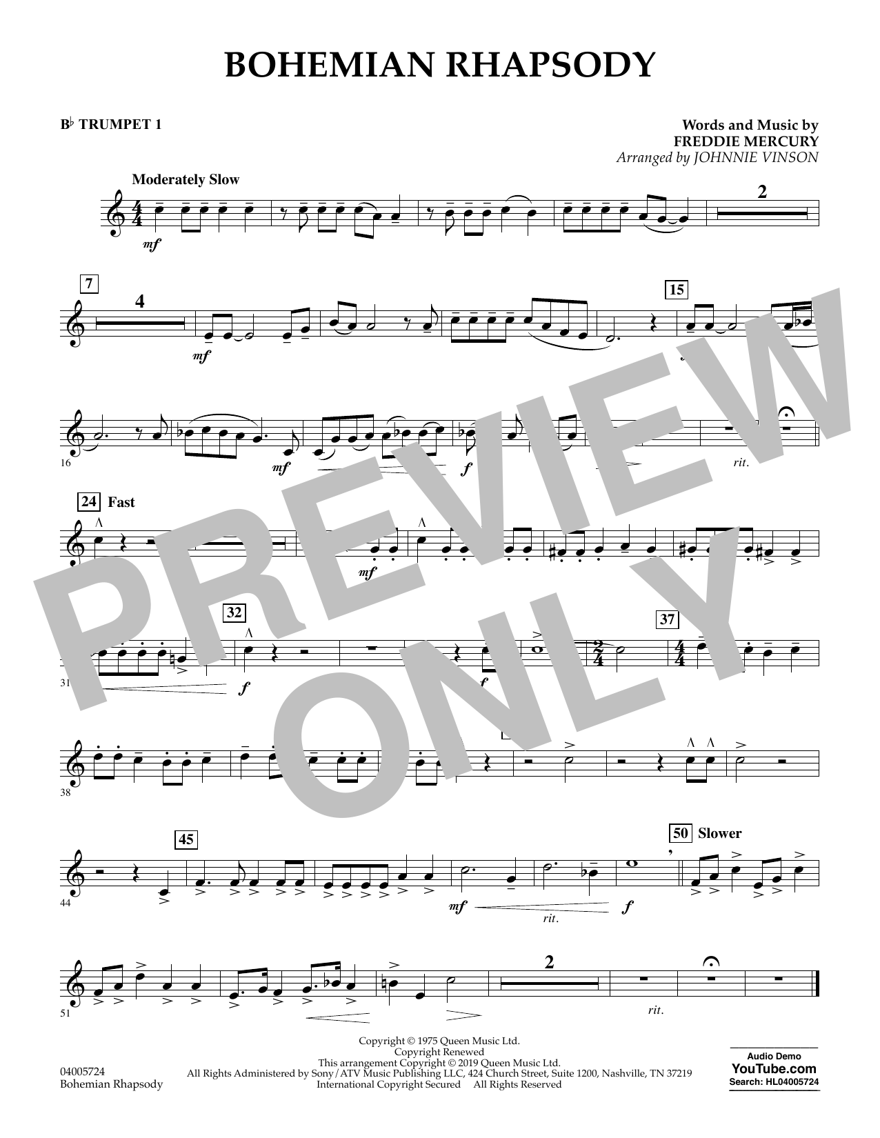 Bohemian Rhapsody (arr. Johnnie Vinson) - Bb Trumpet 1 (Concert Band)