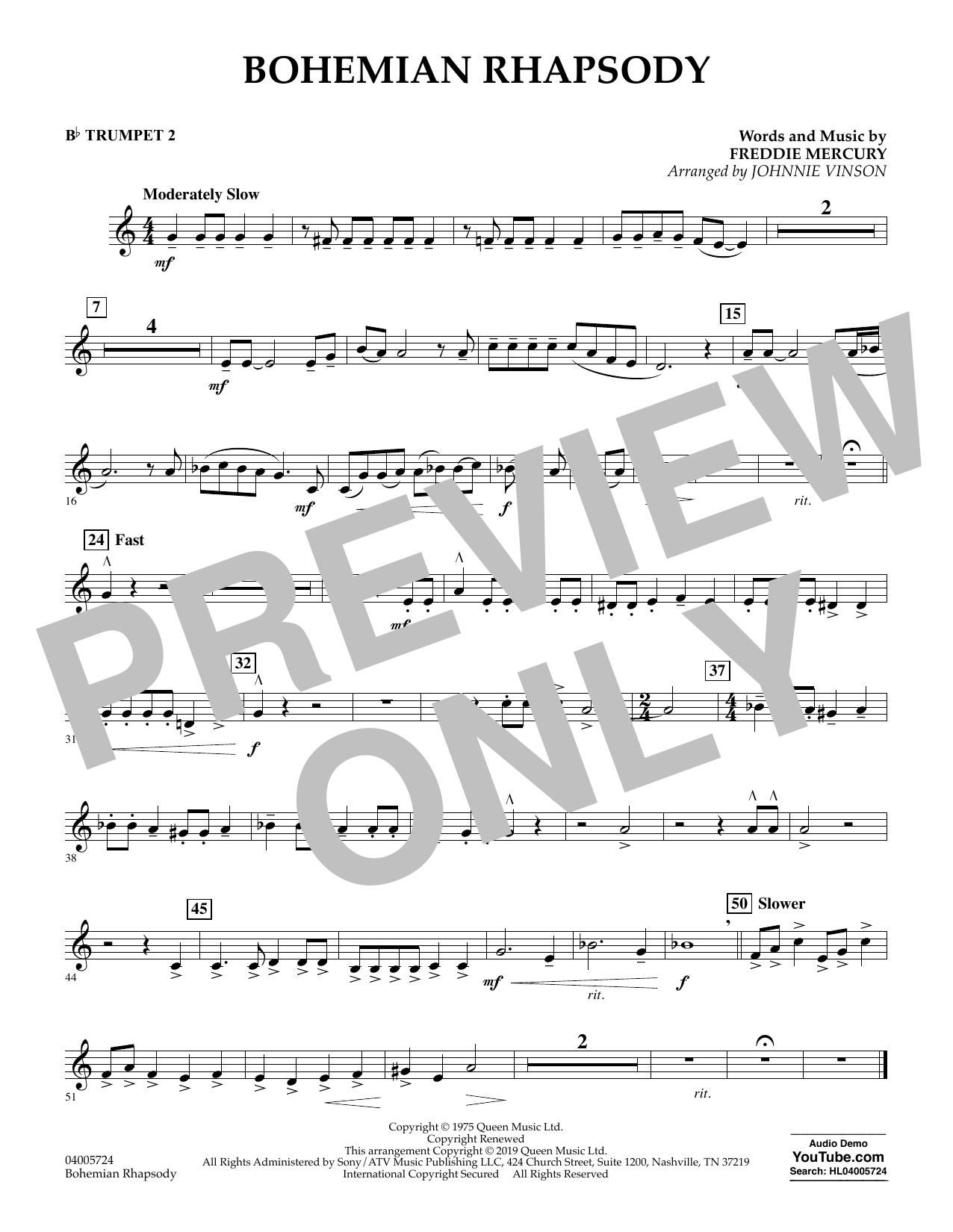 Bohemian Rhapsody (arr. Johnnie Vinson) - Bb Trumpet 2 (Concert Band)