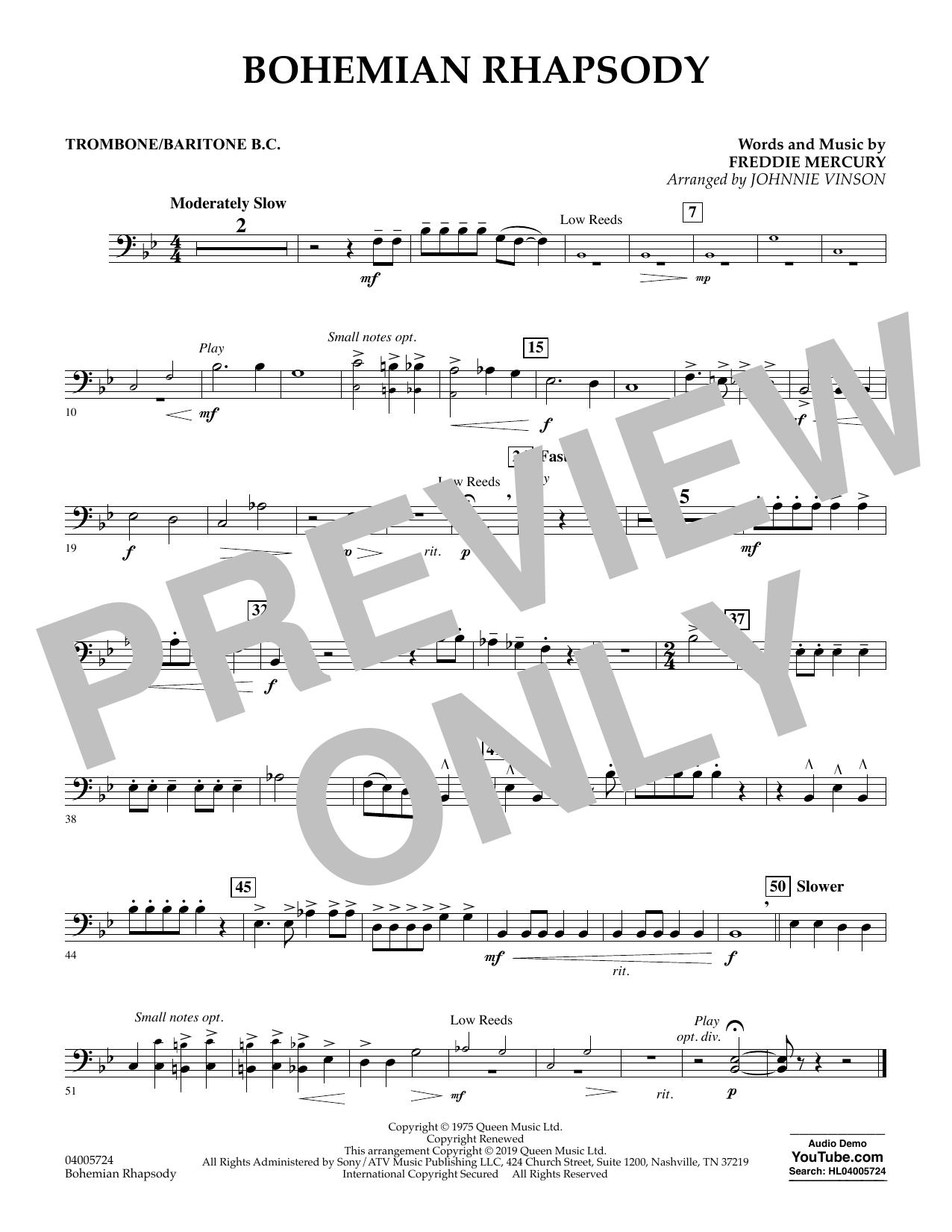Bohemian Rhapsody (arr. Johnnie Vinson) - Trombone/Baritone B.C. (Concert Band)