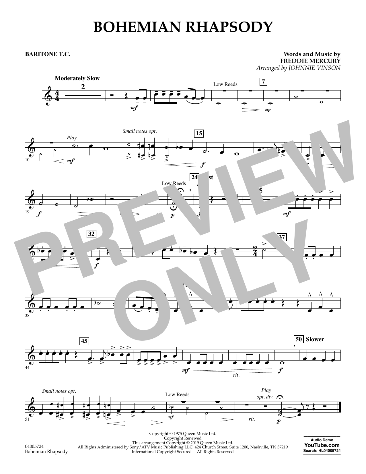 Bohemian Rhapsody (arr. Johnnie Vinson) - Baritone T.C. (Concert Band)
