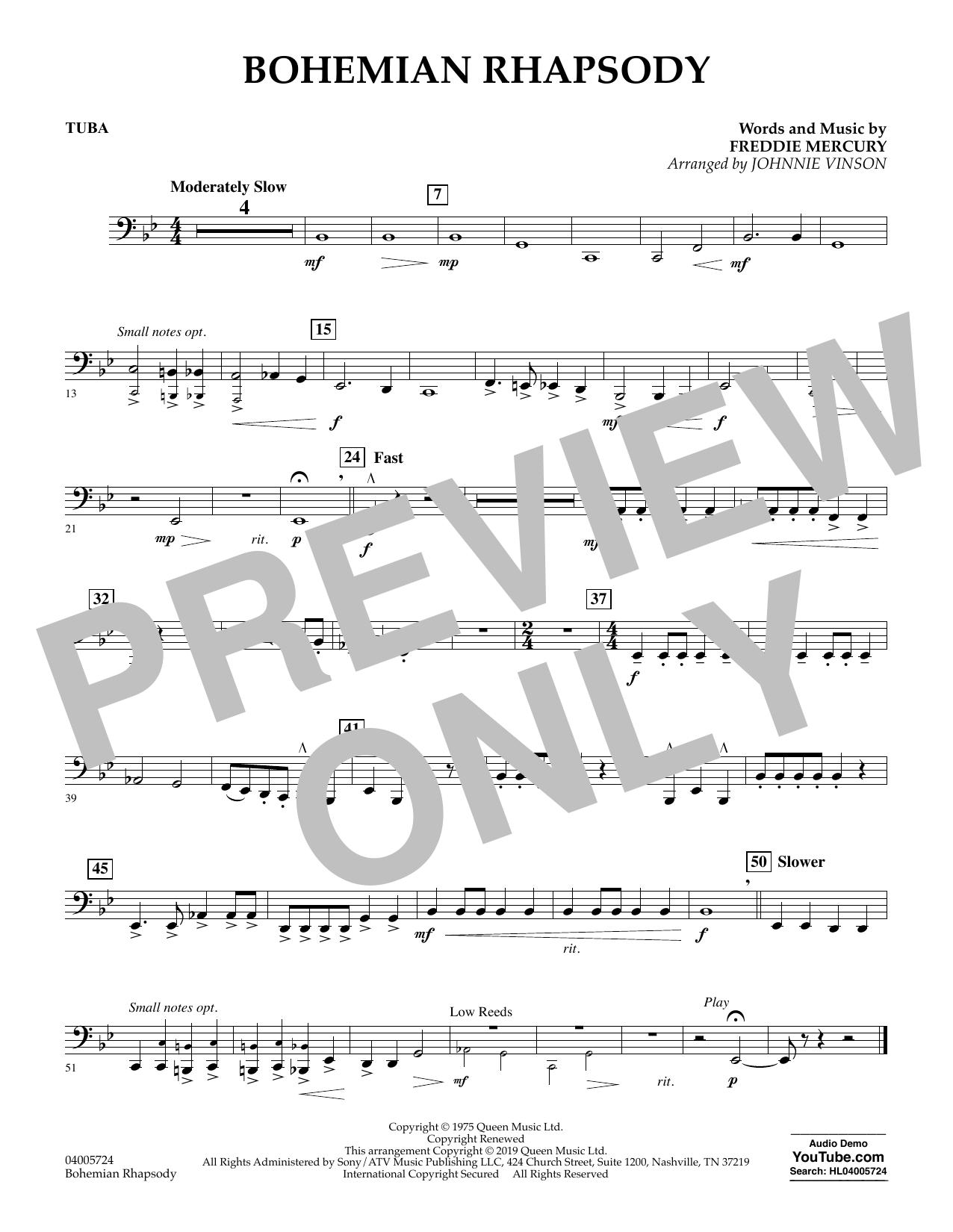Bohemian Rhapsody (arr. Johnnie Vinson) - Tuba (Concert Band)