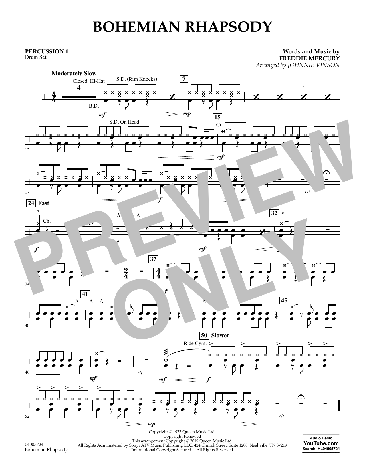 Bohemian Rhapsody (arr. Johnnie Vinson) - Percussion 1 (Concert Band)