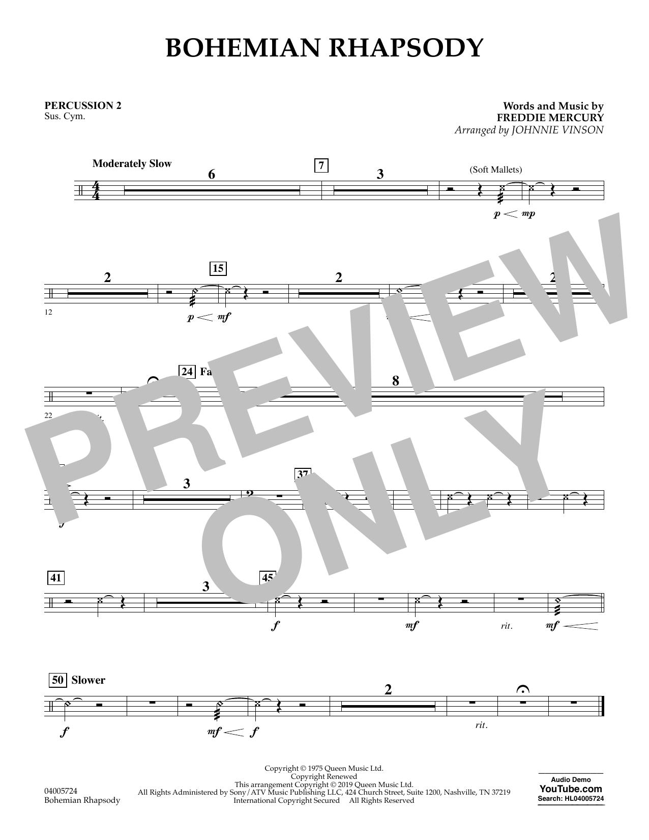 Bohemian Rhapsody (arr. Johnnie Vinson) - Percussion 2 (Concert Band)