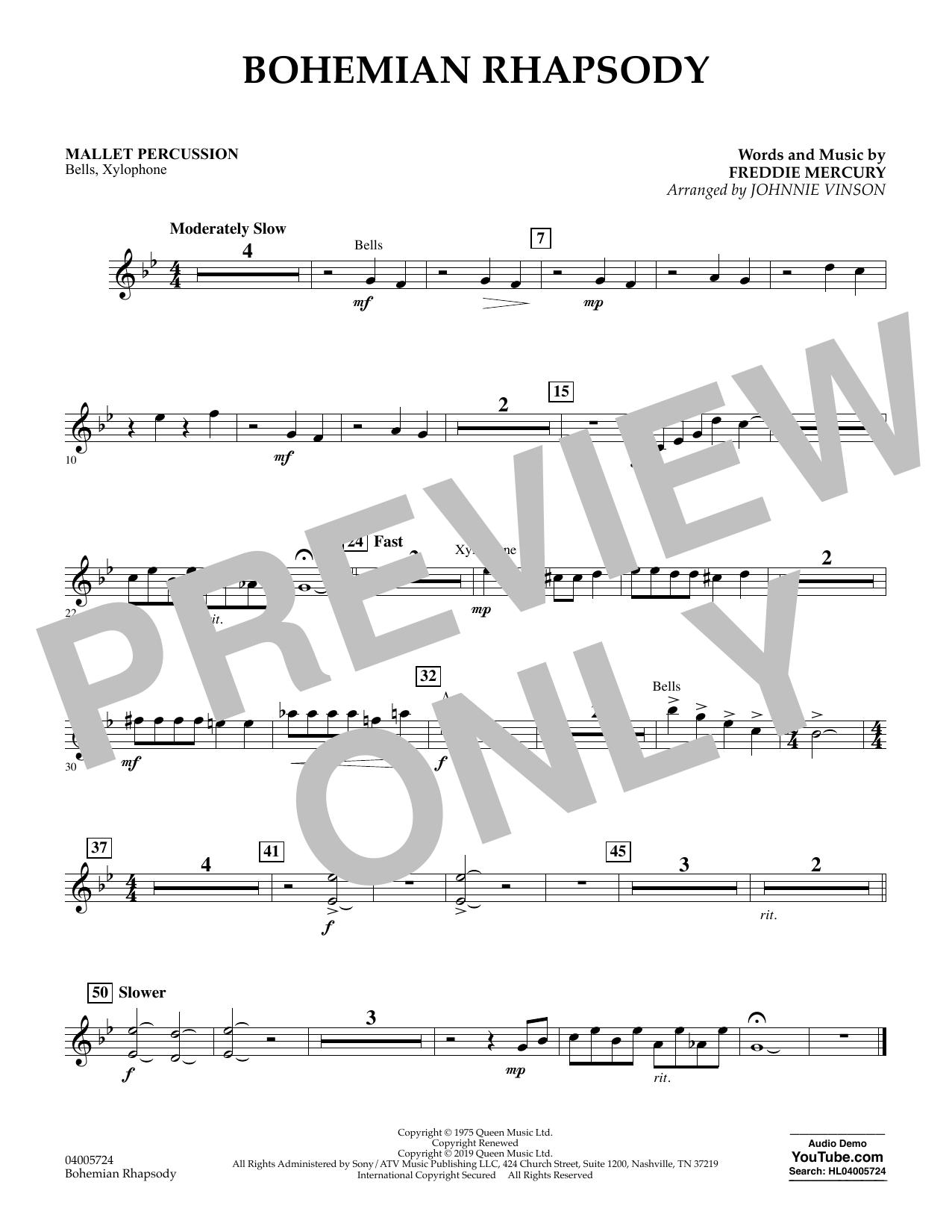 Bohemian Rhapsody (arr. Johnnie Vinson) - Mallet Percussion (Concert Band)