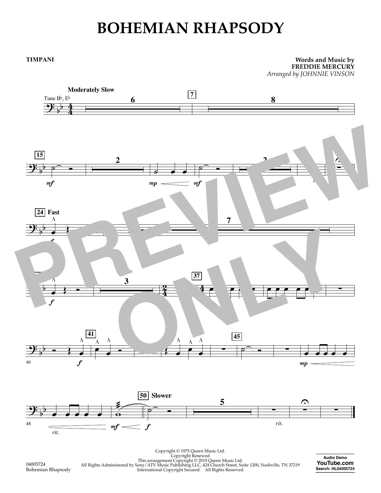 Bohemian Rhapsody (arr. Johnnie Vinson) - Timpani (Concert Band)