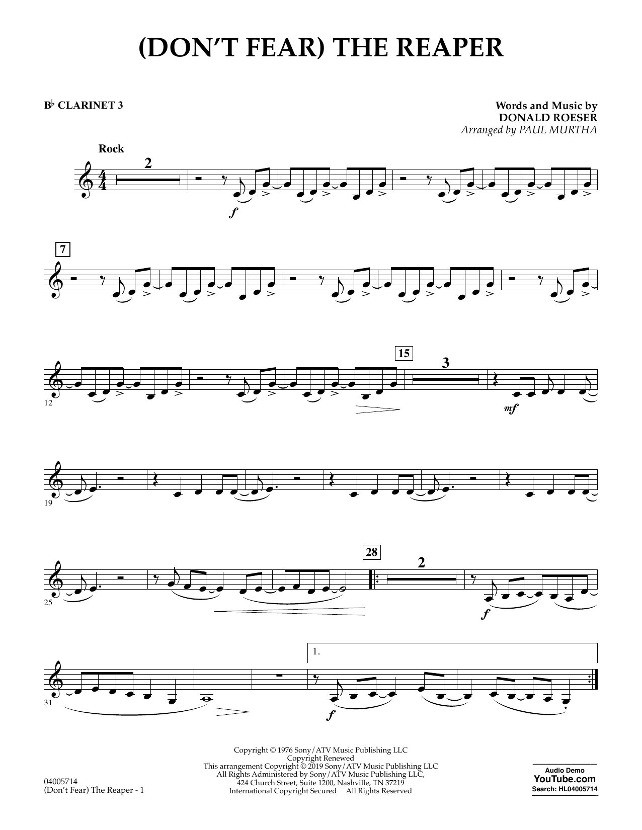 page one of (Don't Fear) The Reaper (arr. Paul Murtha) - Bb Clarinet 3ASALTTEXT