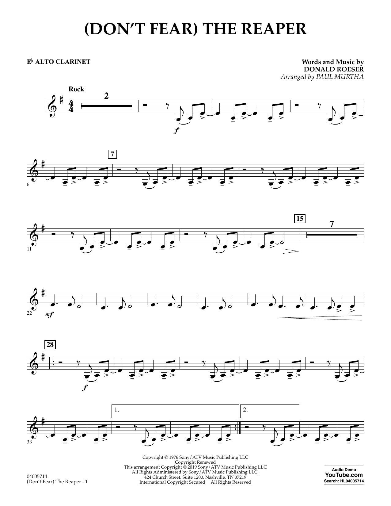 page one of (Don't Fear) The Reaper (arr. Paul Murtha) - Eb Alto ClarinetASALTTEXT