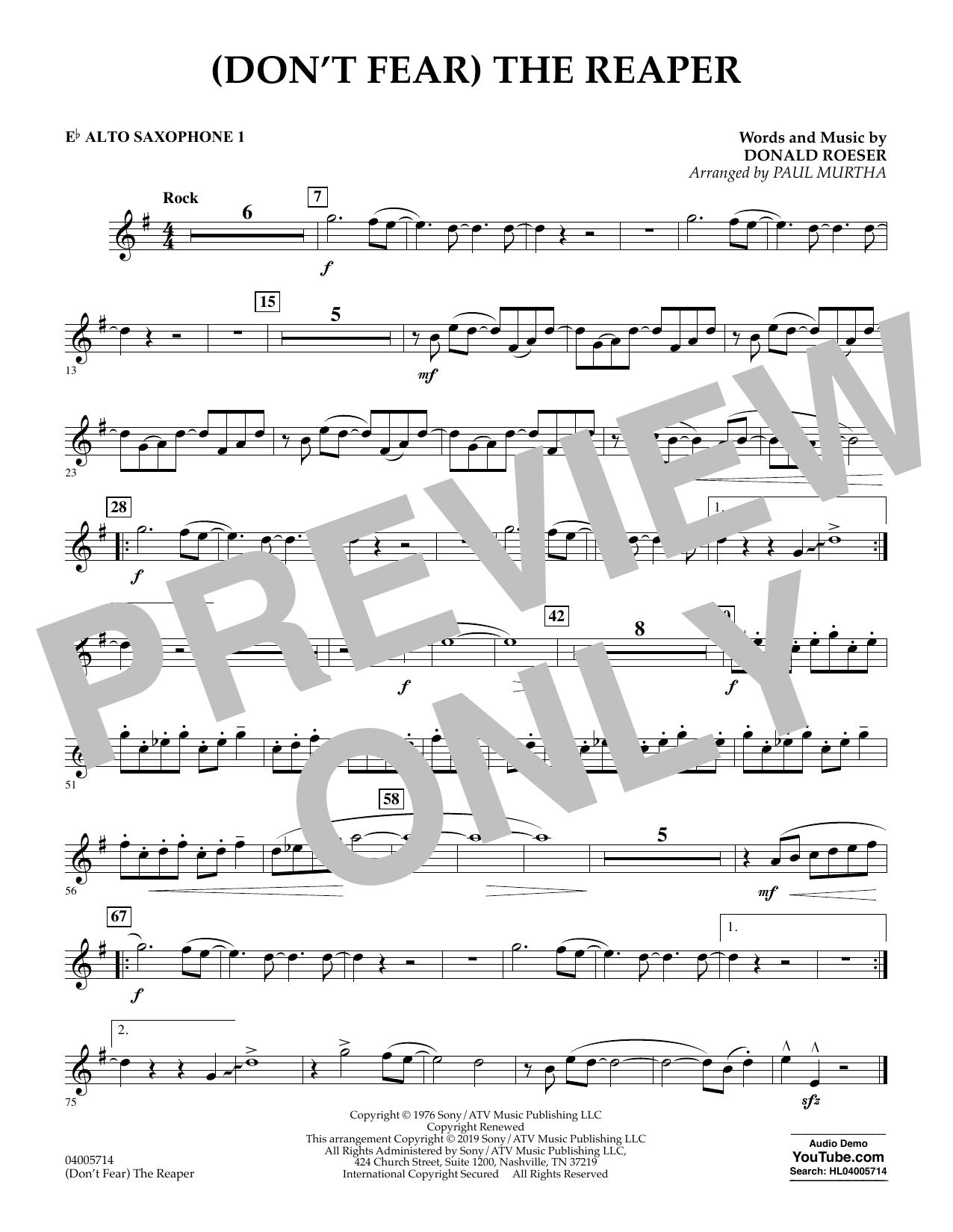 (Don't Fear) The Reaper (arr. Paul Murtha) - Eb Alto Saxophone 1 (Concert Band)