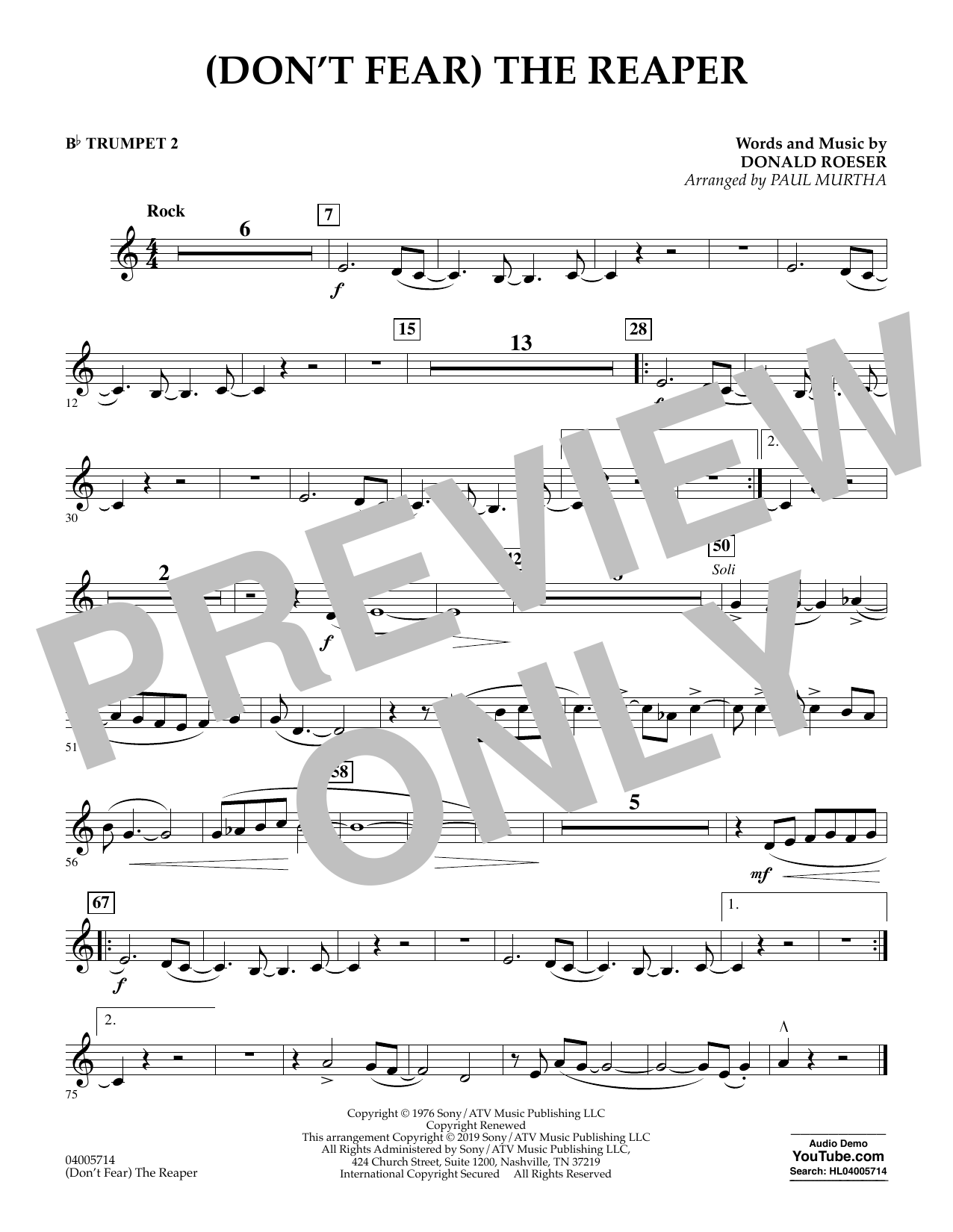 (Don't Fear) The Reaper (arr. Paul Murtha) - Bb Trumpet 2 (Concert Band)