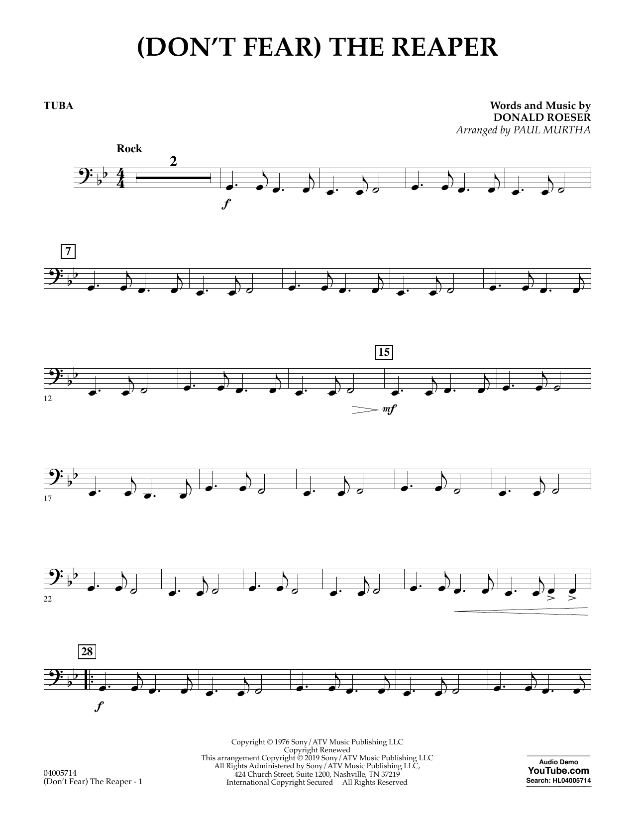 (Don't Fear) The Reaper (arr. Paul Murtha) - Tuba (Concert Band)