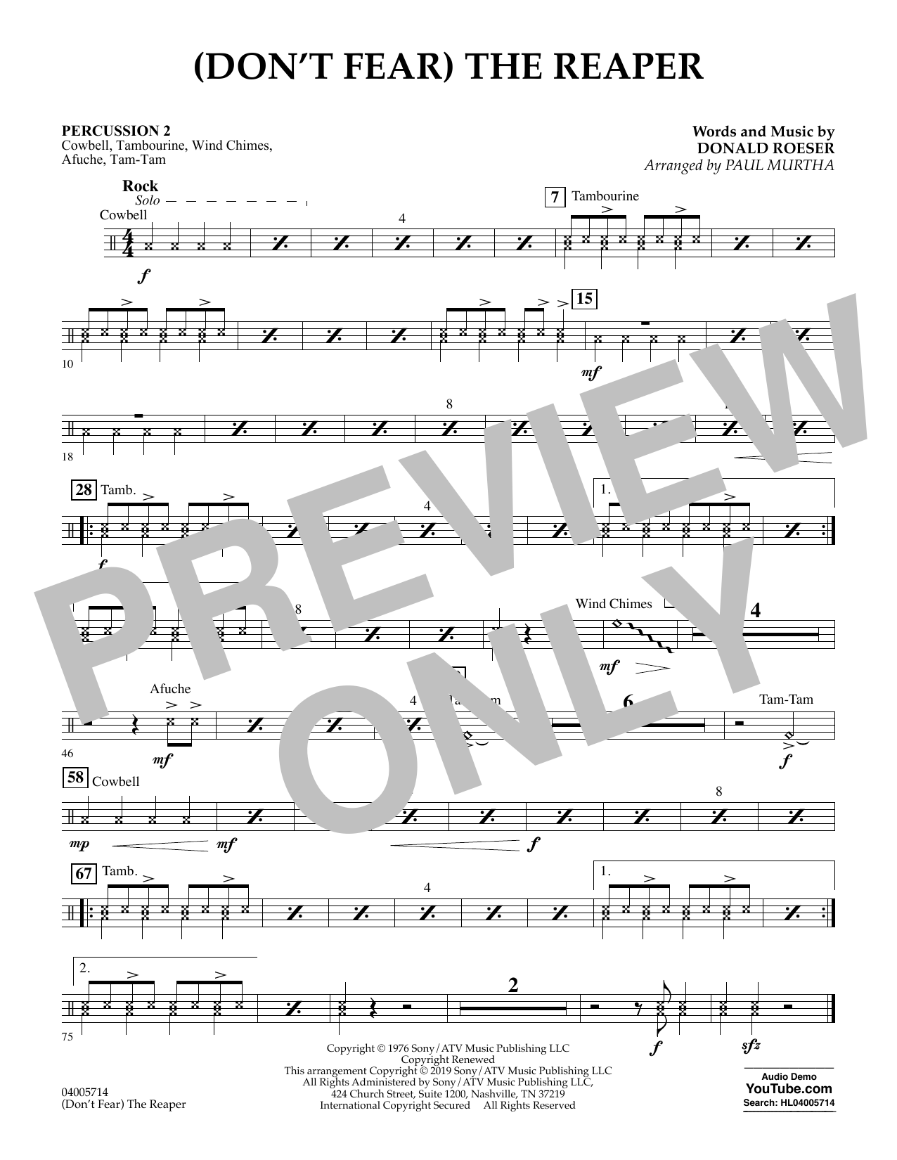 (Don't Fear) The Reaper (arr. Paul Murtha) - Percussion 2 (Concert Band)