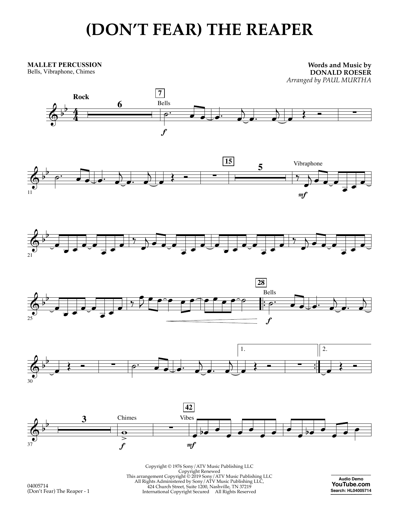(Don't Fear) The Reaper (arr. Paul Murtha) - Mallet Percussion (Concert Band)