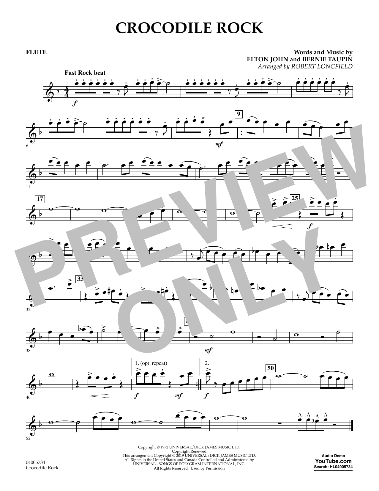 Crocodile Rock (arr. Robert Longfield) - Flute (Concert Band)