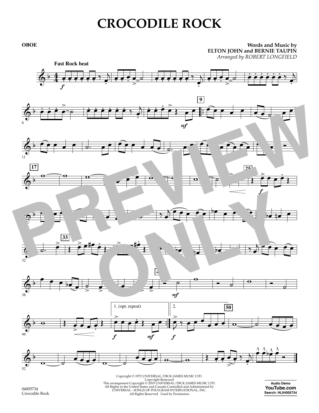 Crocodile Rock (arr. Robert Longfield) - Oboe (Concert Band)