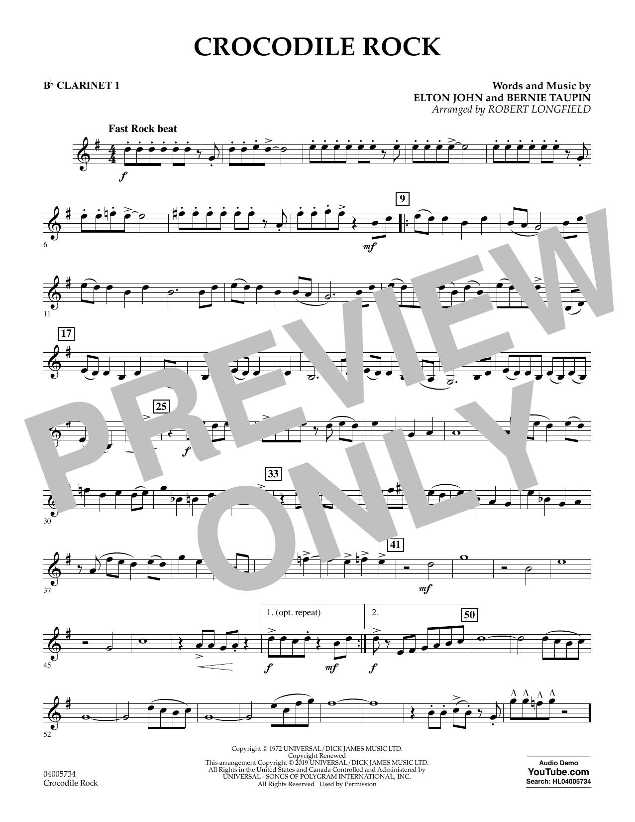 Crocodile Rock (arr. Robert Longfield) - Bb Clarinet 1 (Concert Band)